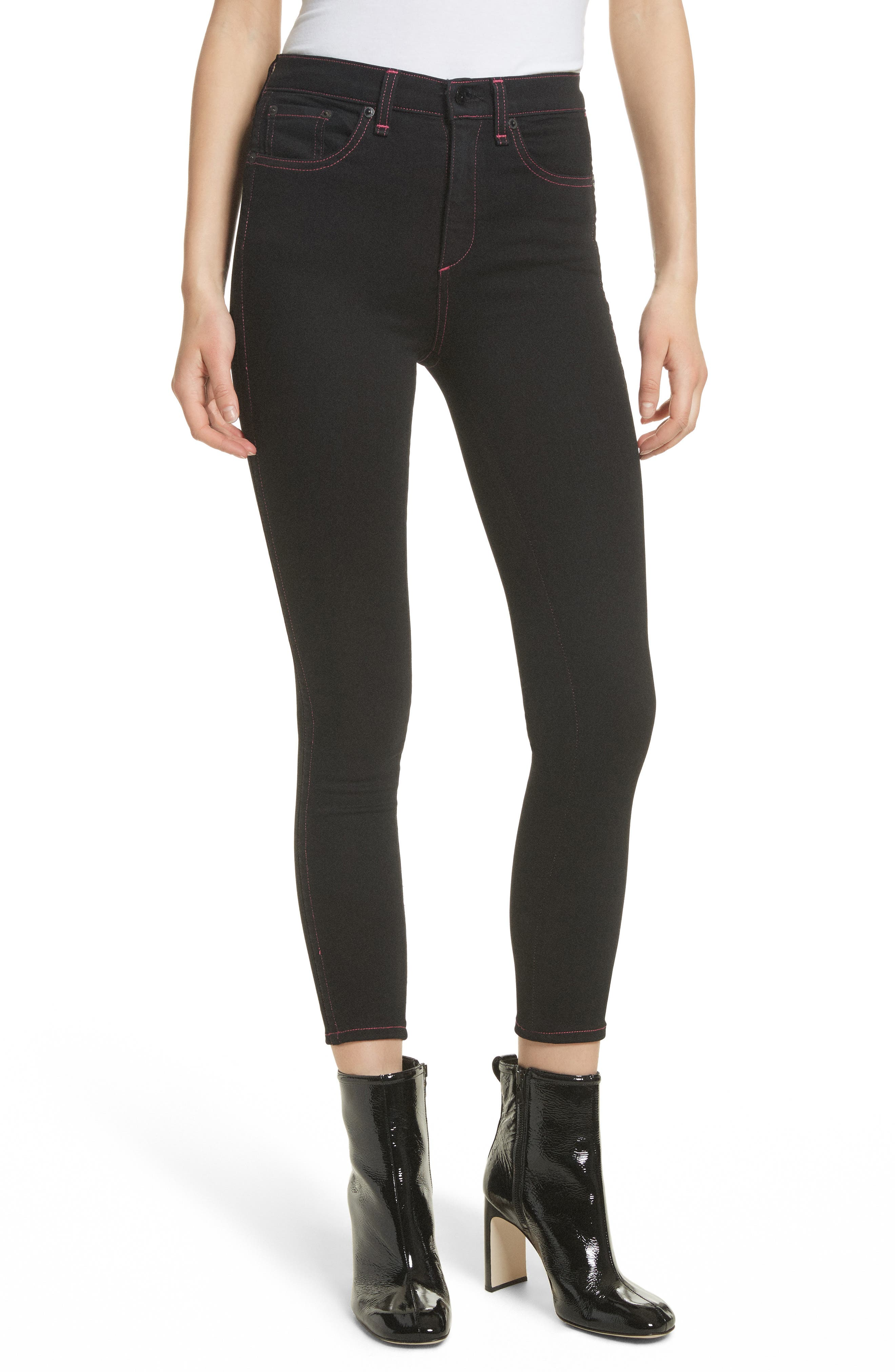 Miich High Rise Crop Skinny Jeans,                             Main thumbnail 1, color,                             Black Stitch