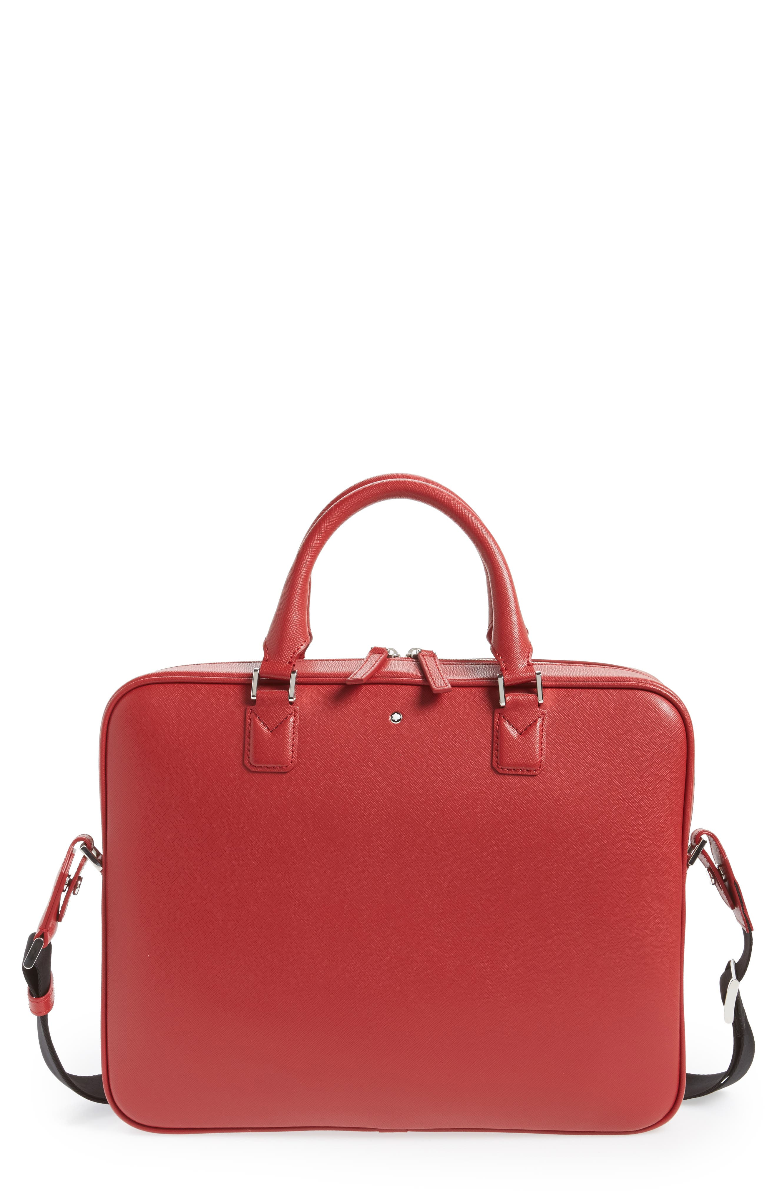 Sartorial Leather Briefcase,                             Main thumbnail 1, color,                             Red