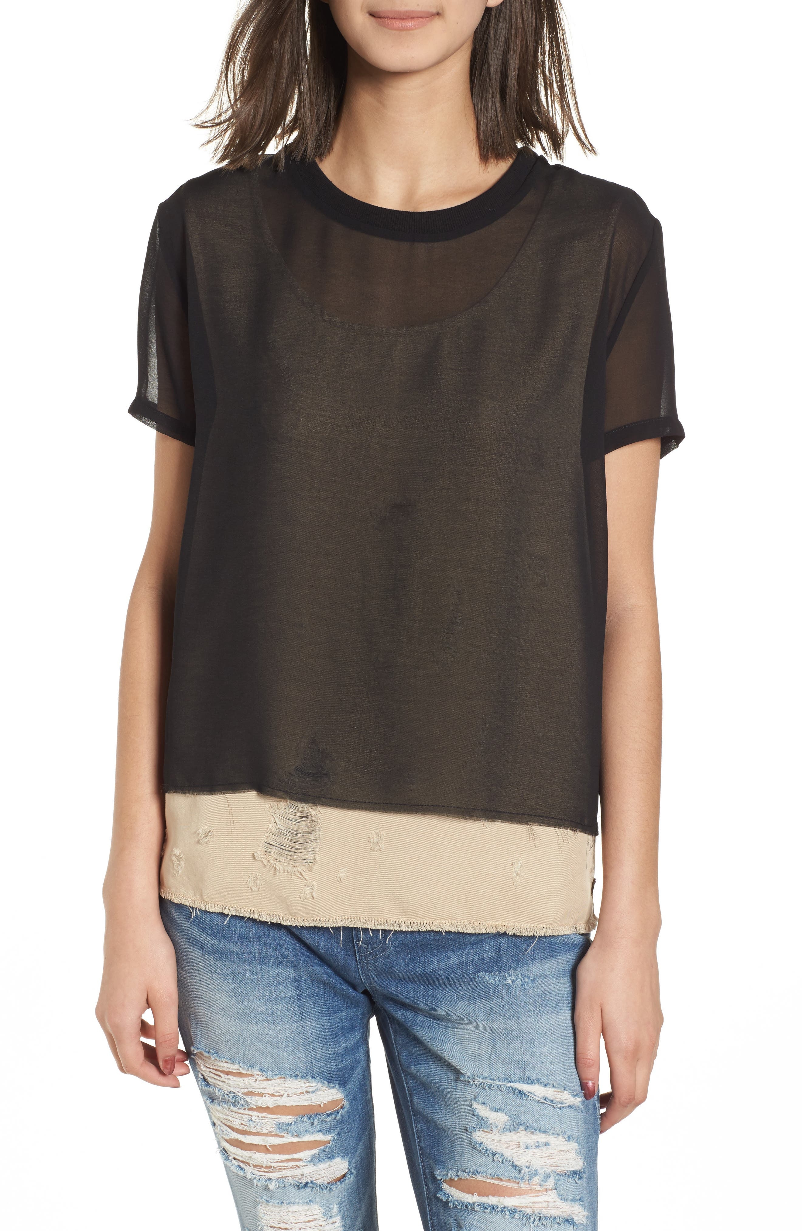 Mixed Media Layered Top,                         Main,                         color, Beige