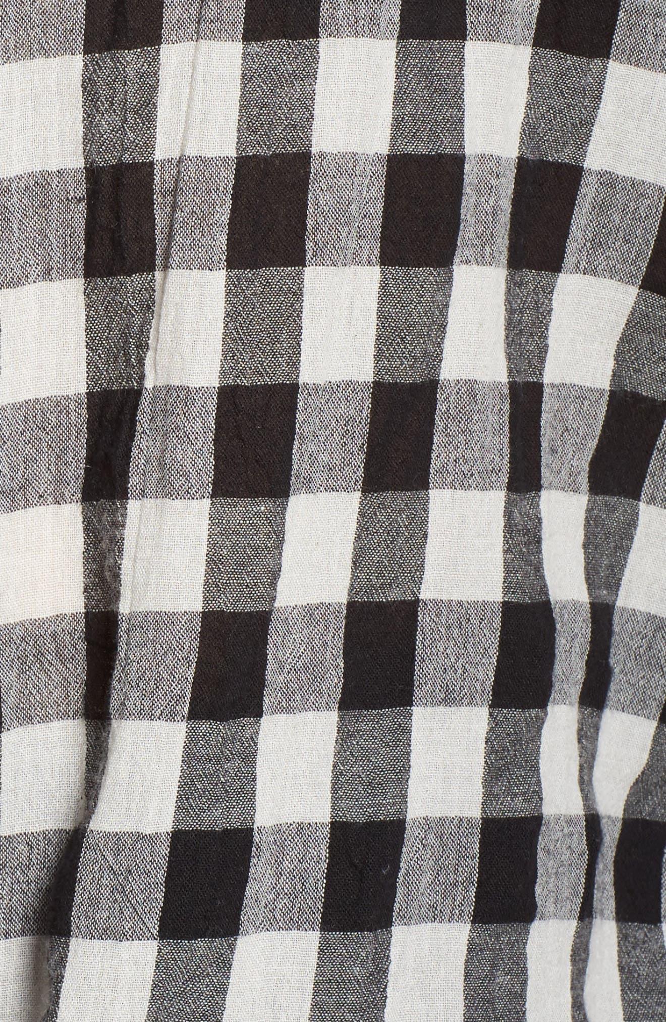 Tie Front Cotton Tank,                             Alternate thumbnail 6, color,                             Black- White Gingham