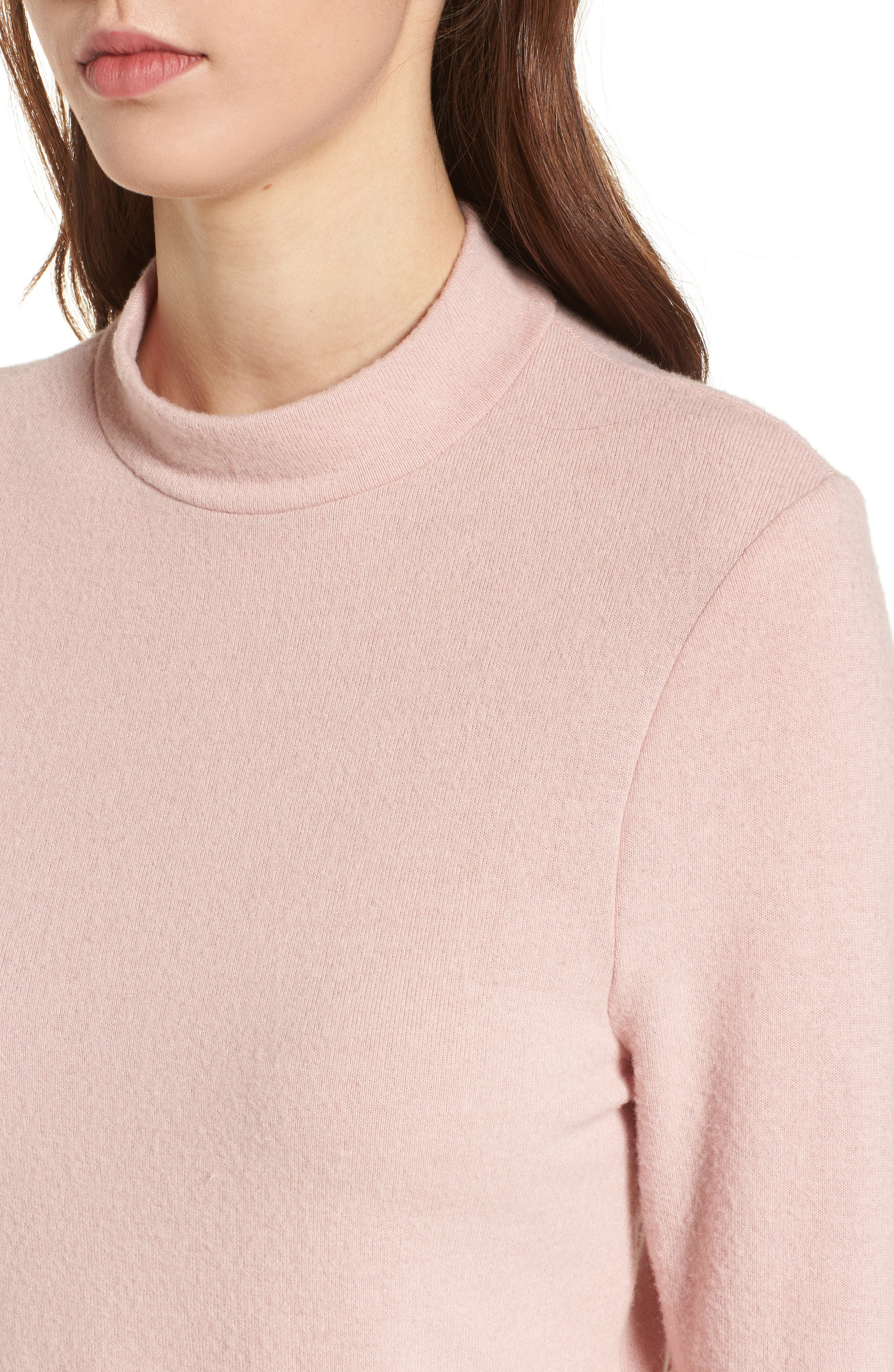 Mock Neck Pullover,                             Alternate thumbnail 4, color,                             Pink Smoke