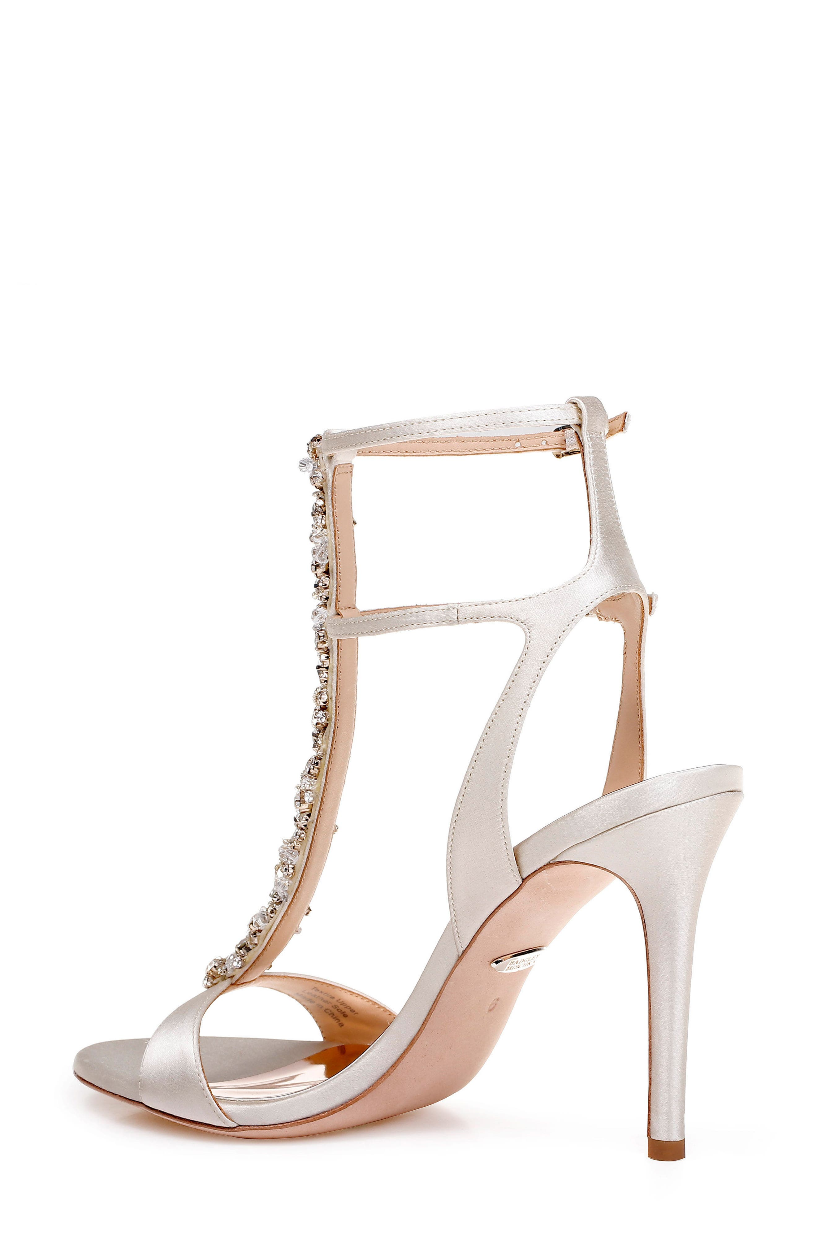 Hollow T-Strap Embellished Sandal,                             Alternate thumbnail 2, color,                             Ivory Leather