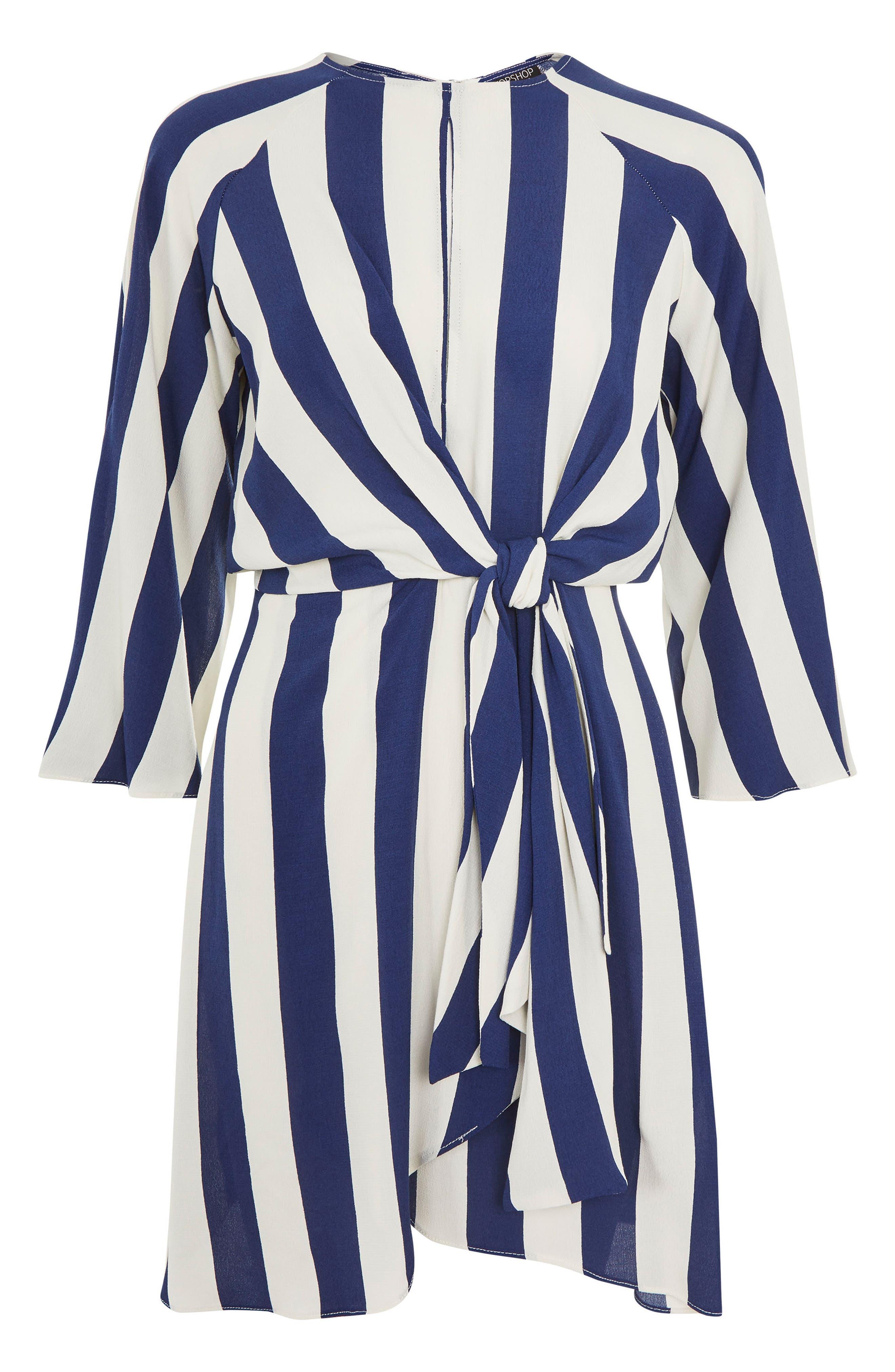 Humbug Stripe Knot Dress,                             Alternate thumbnail 3, color,                             Blue Multi