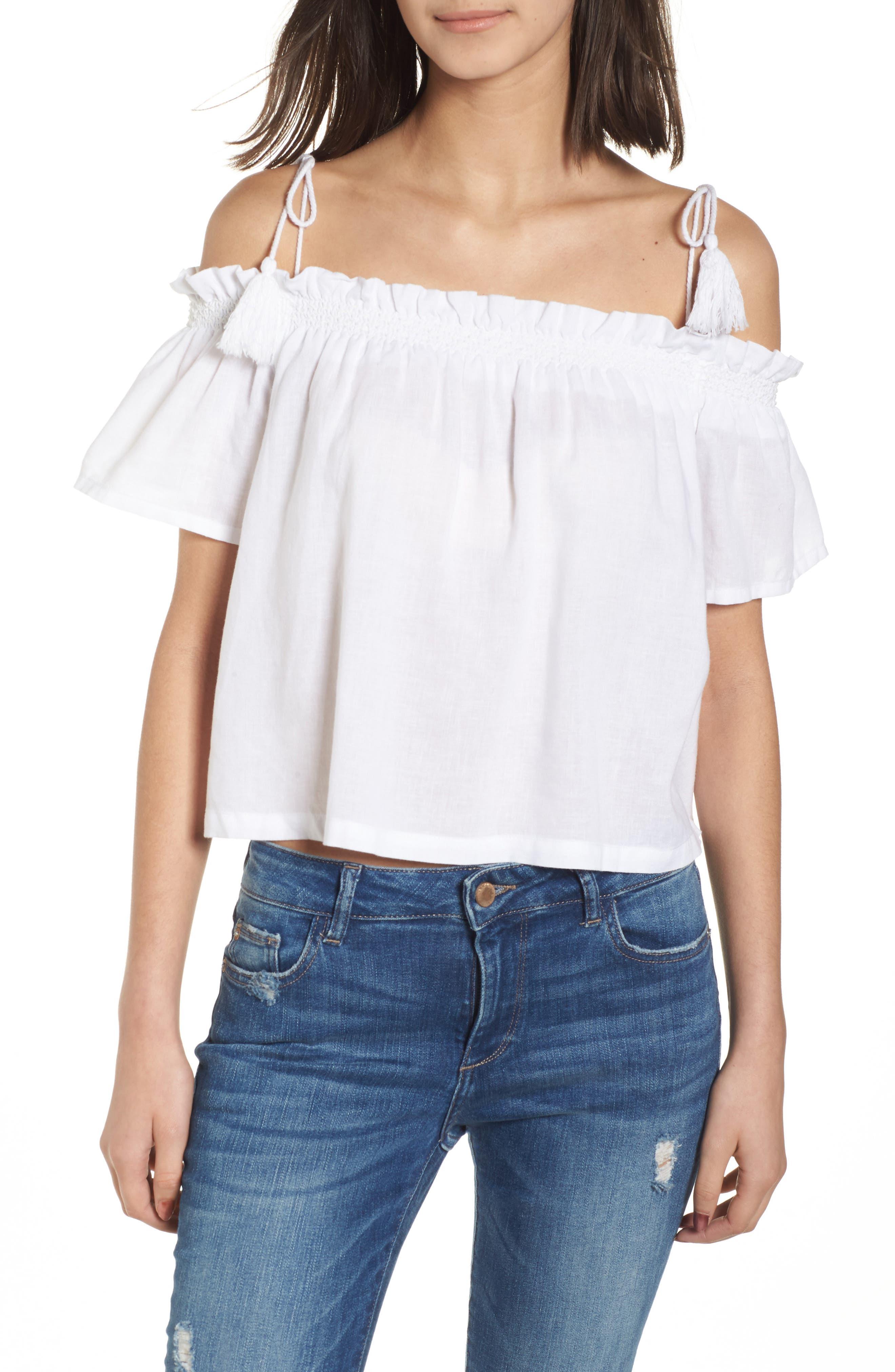 Cornelia Off the Shoulder Top,                         Main,                         color, White