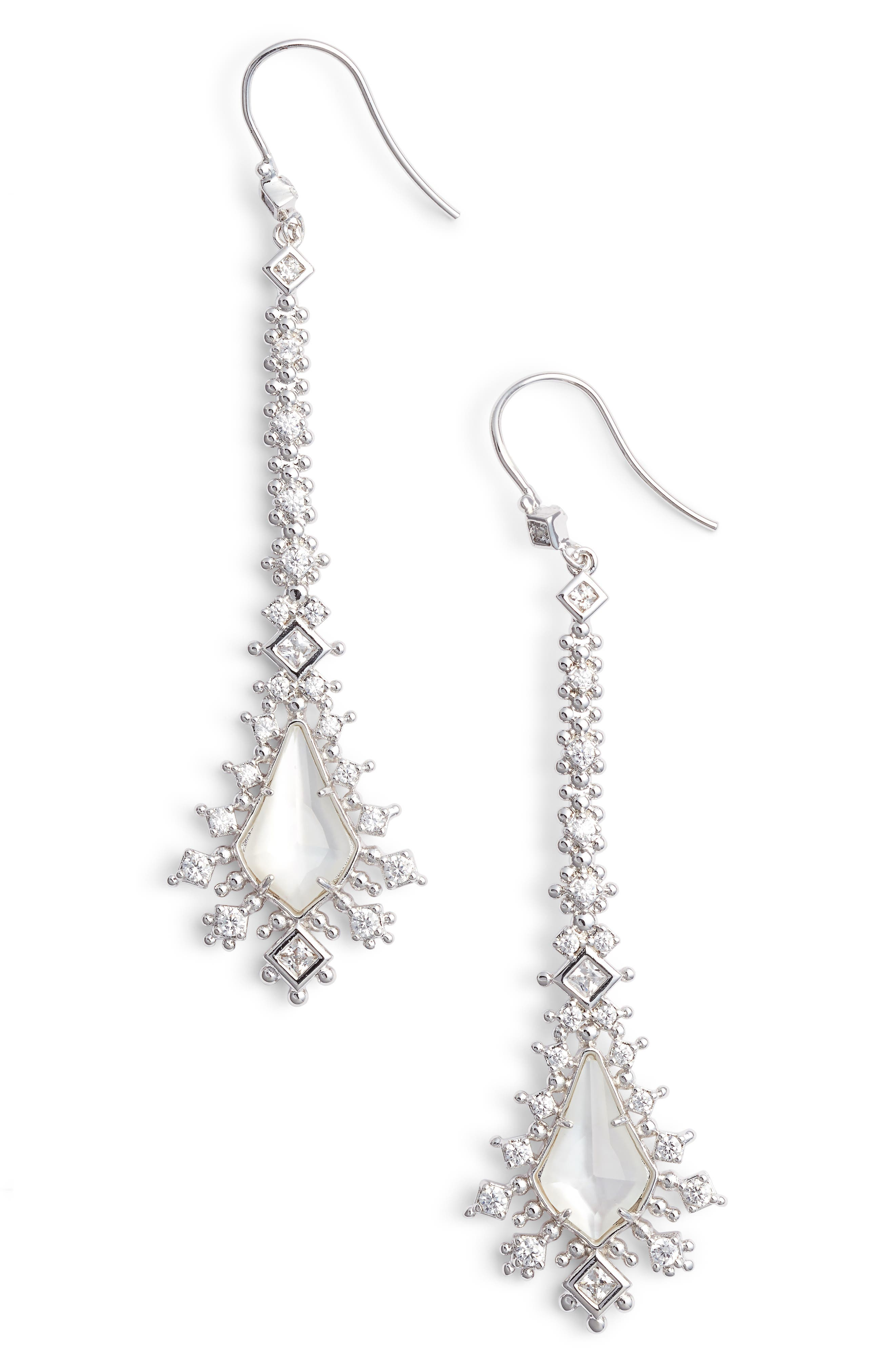 Reimer Mother of Pearl Drop Earrings,                             Main thumbnail 1, color,                             Silver