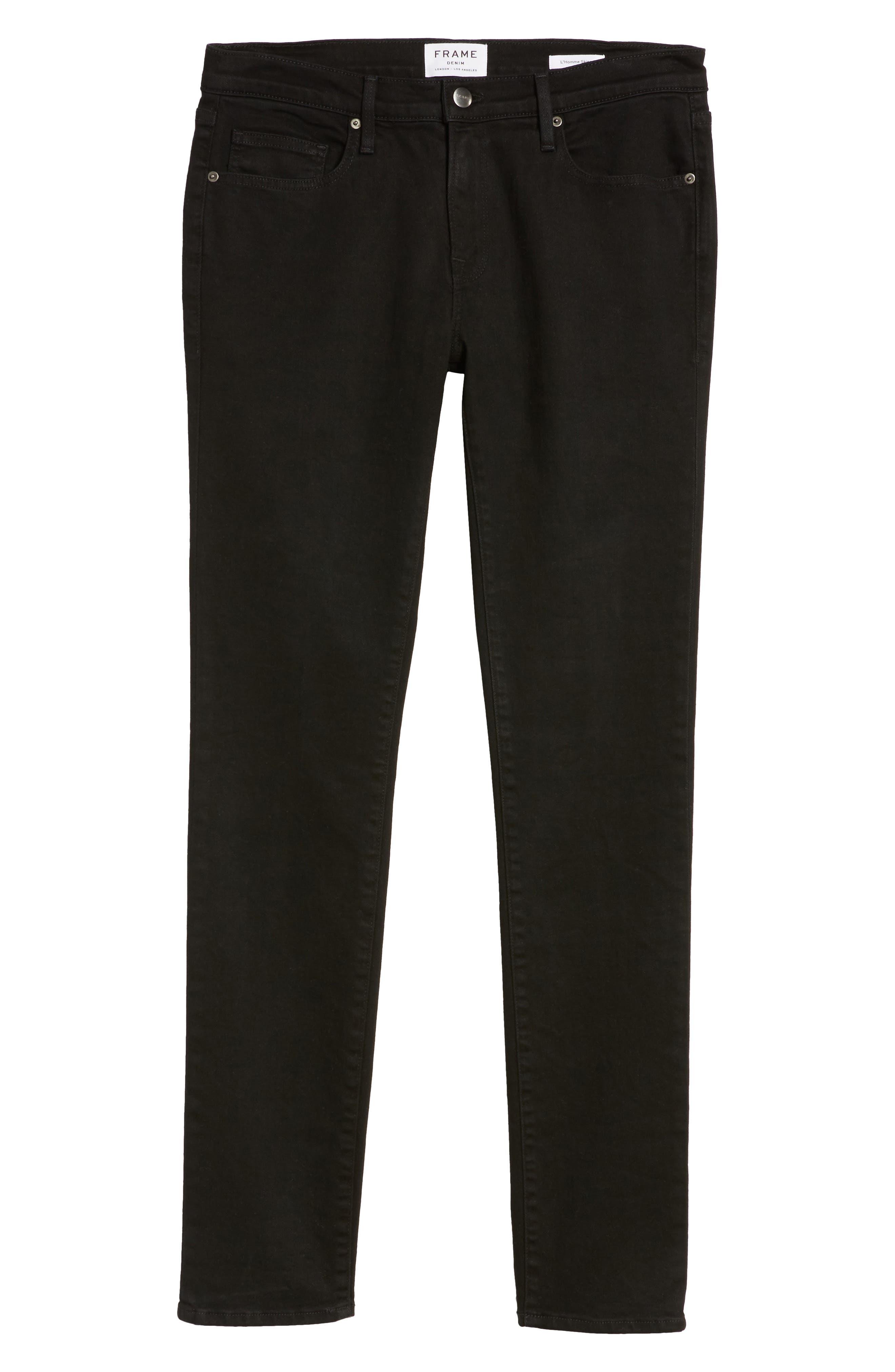 L'Homme Skinny Fit Jeans,                             Alternate thumbnail 6, color,                             Noir