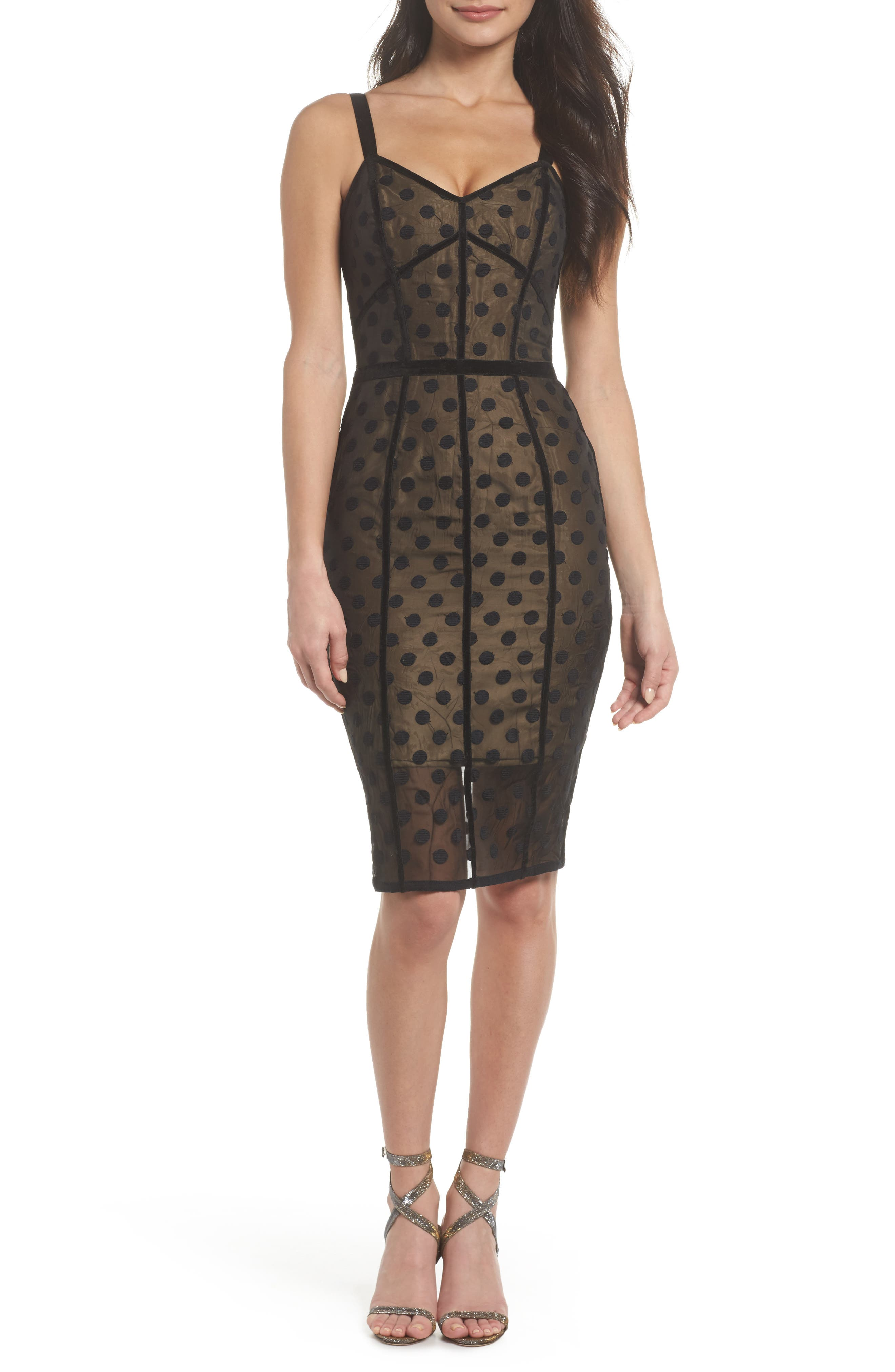 Isabella Noir Dot Embroidered Body-Con Dress,                             Main thumbnail 1, color,                             Black/ Nude