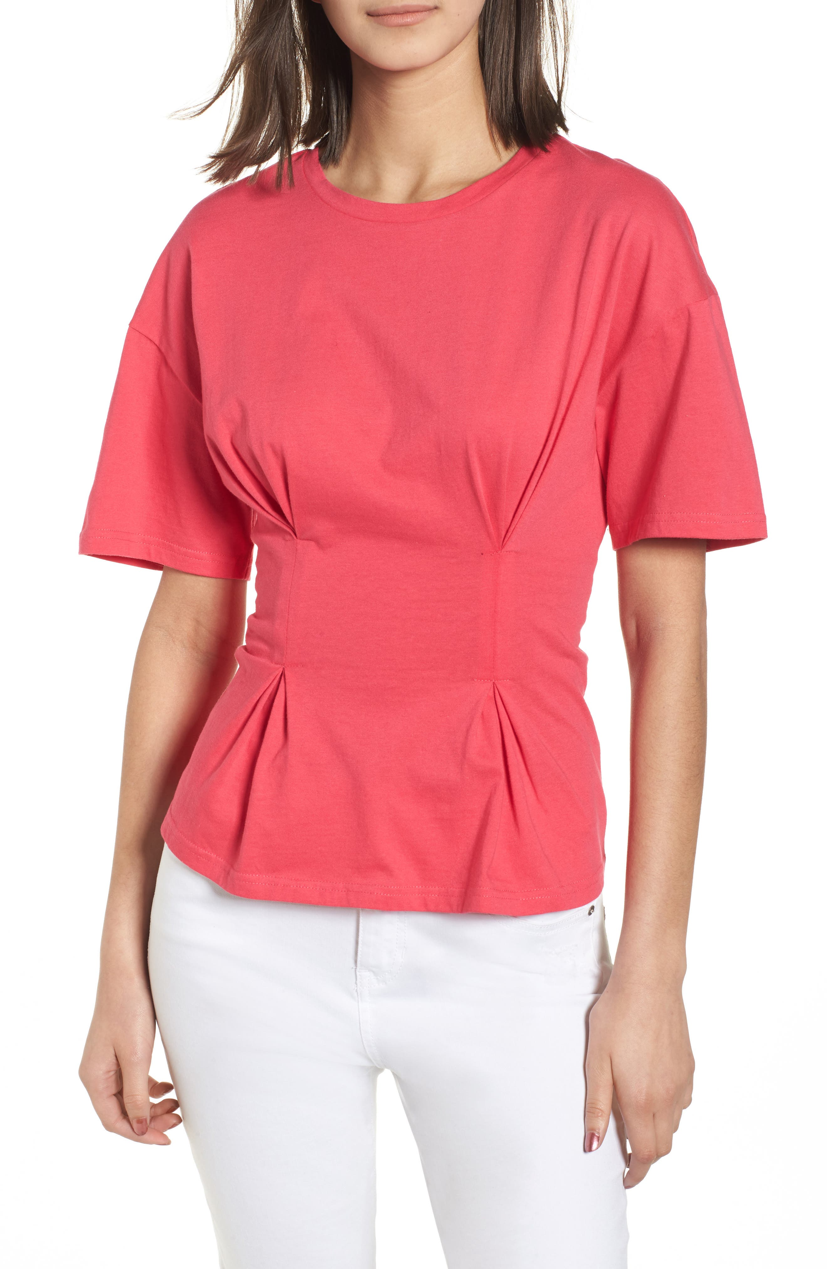 Seamed Peplum Tee,                             Main thumbnail 1, color,                             Wild Pink