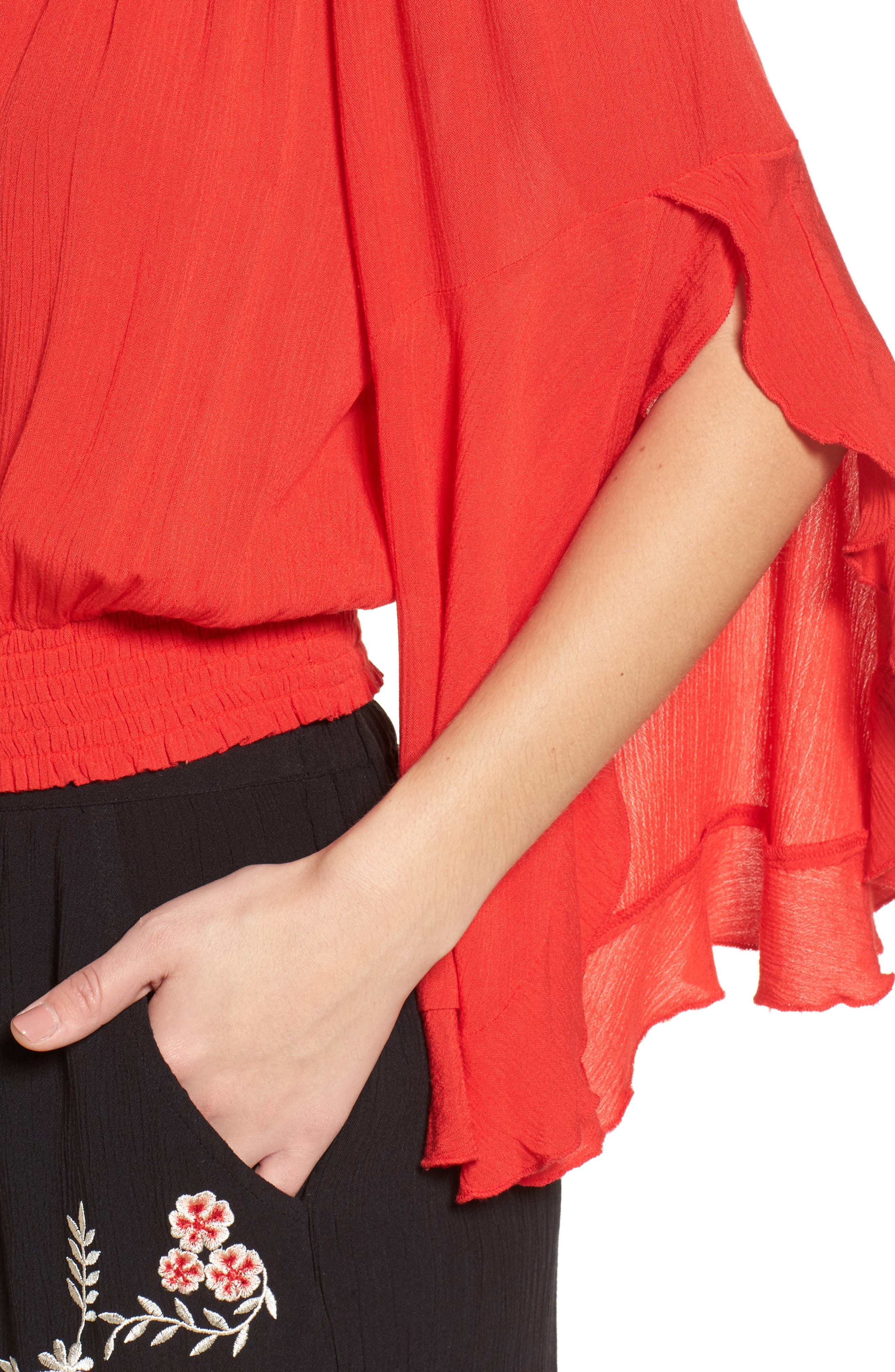 Flutter Sleeve Off the Shoulder Top,                             Alternate thumbnail 4, color,                             Red