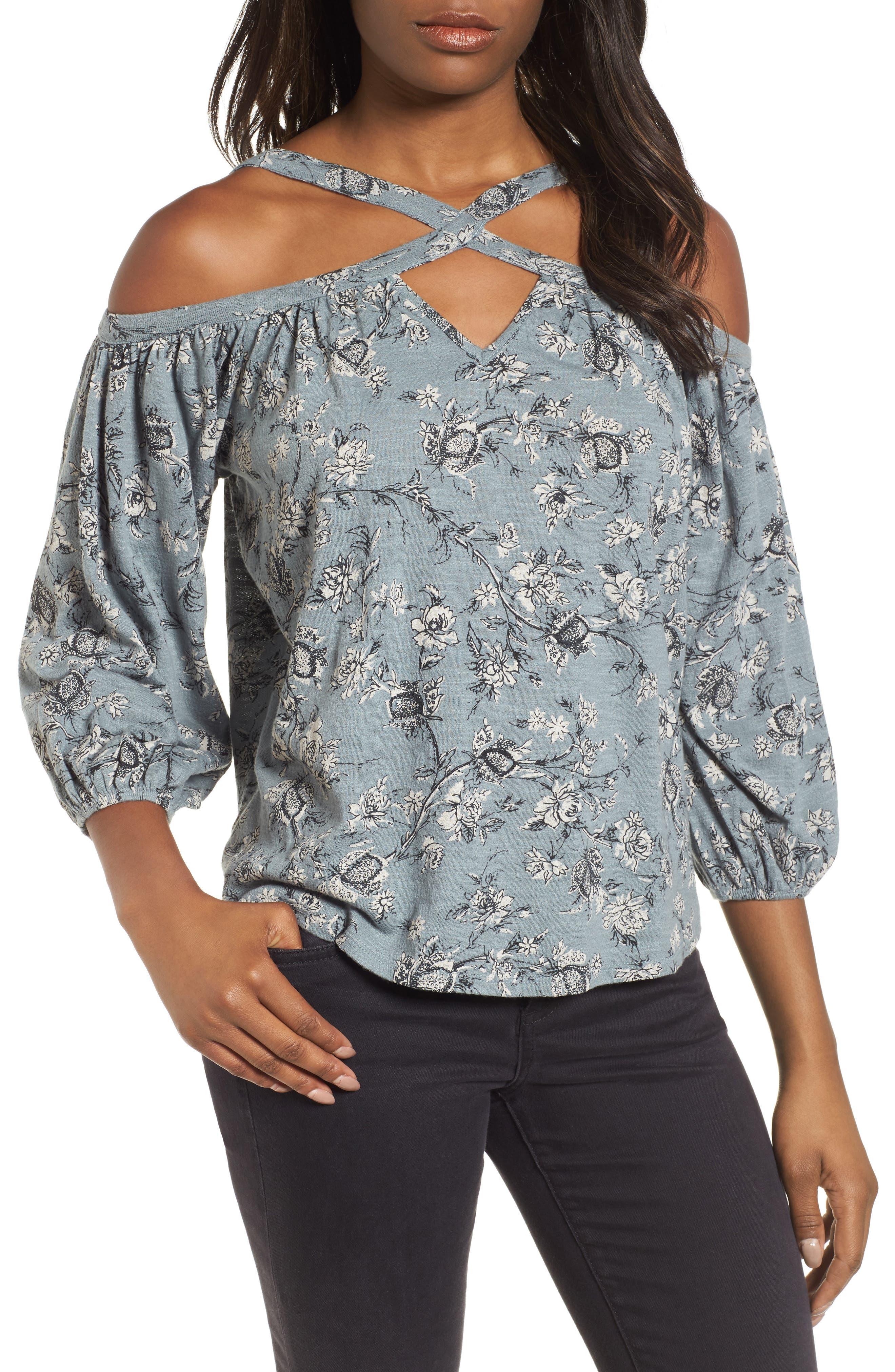 Floral Cold Shoulder Blouse,                             Main thumbnail 1, color,                             Blue Multi