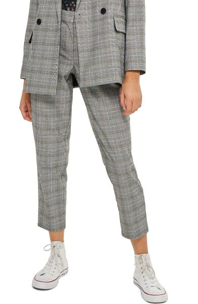 Main Image - Topshop Check Taper Leg Trousers