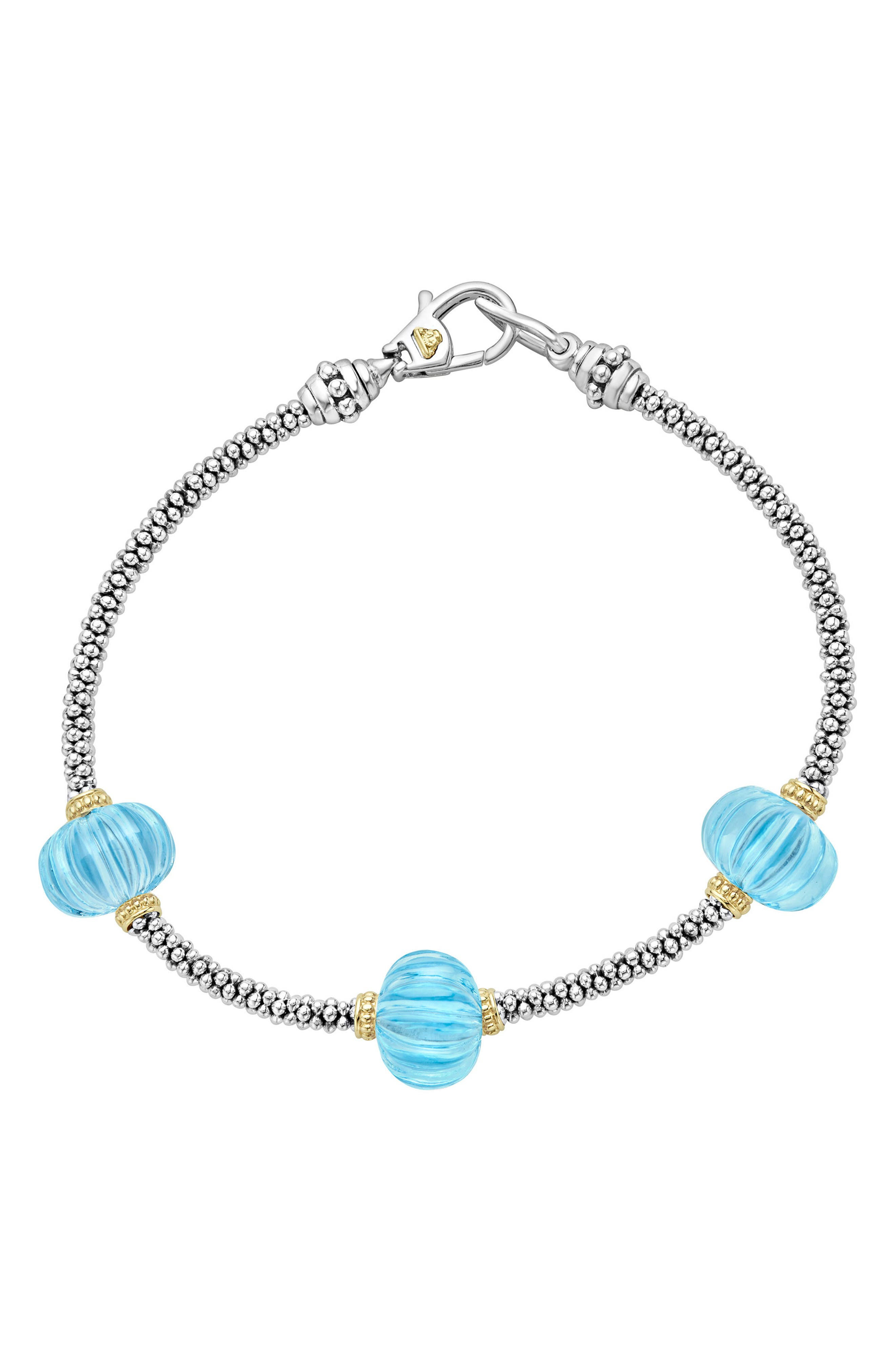 Caviar Forever Melon Bead Station Bracelet,                             Main thumbnail 1, color,                             Silver/ Sky Blue Topaz