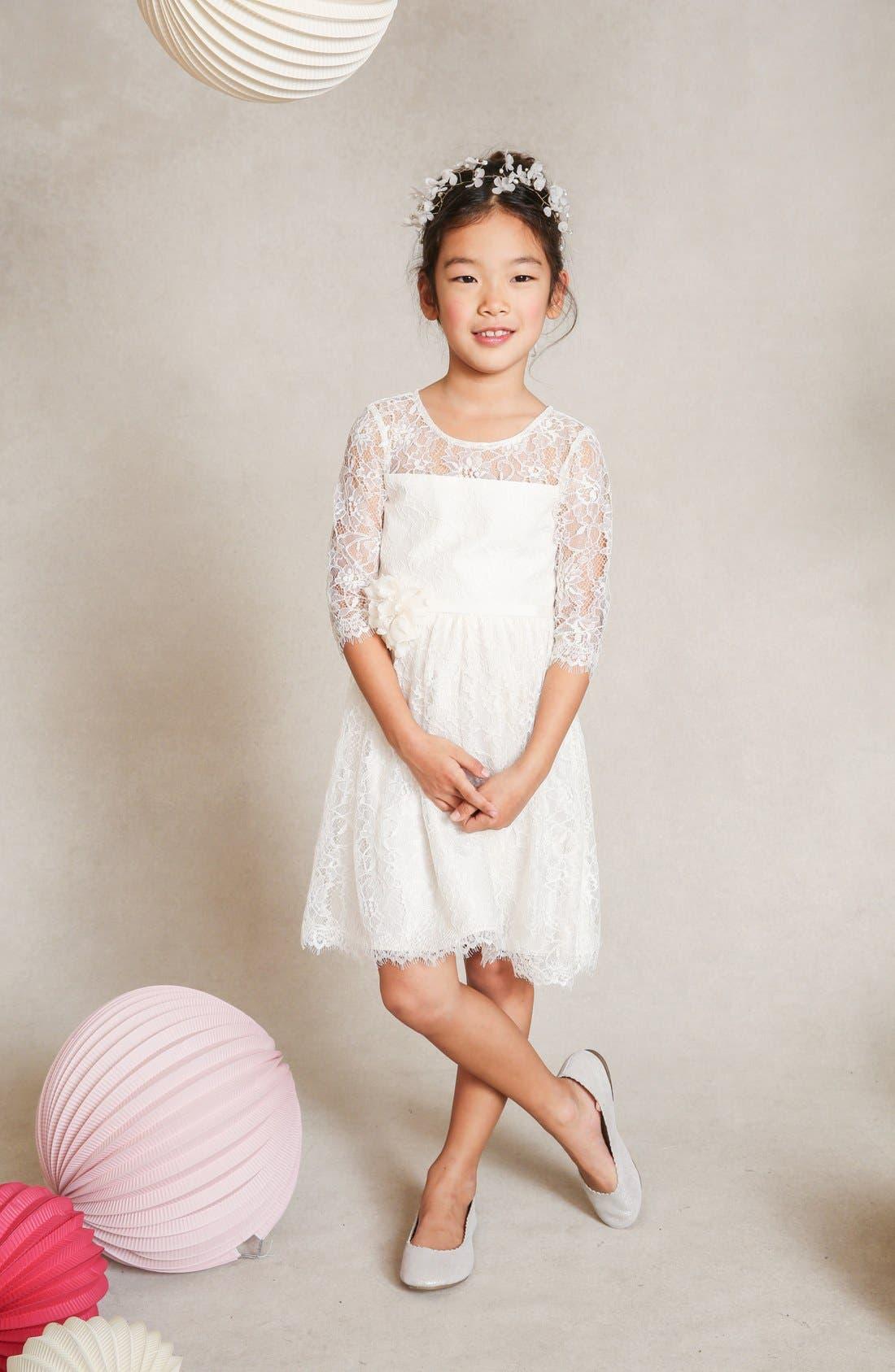 Annie Floral Appliqué Lace Dress,                         Main,                         color, Ivory