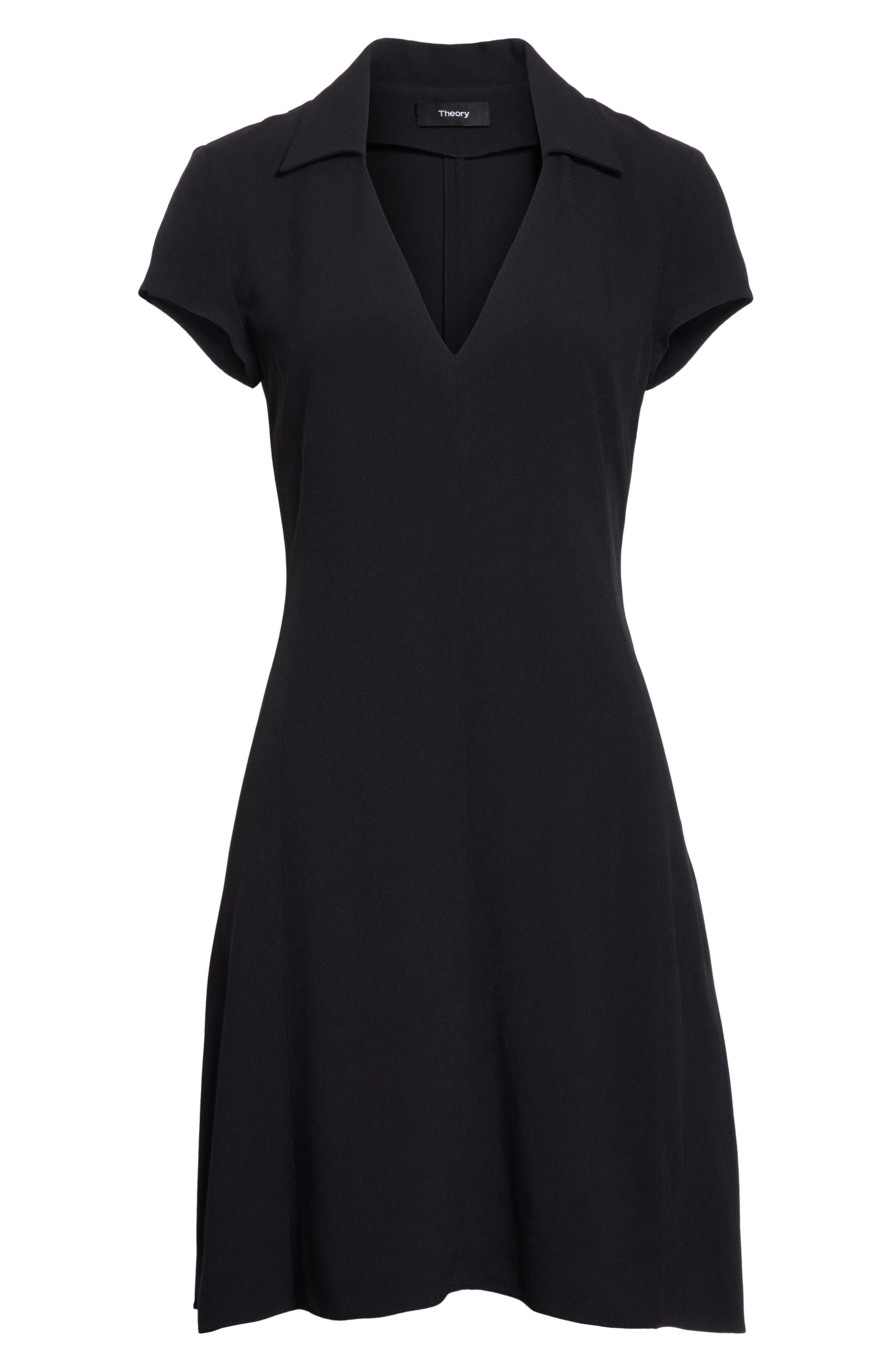 Rosina Easy Day Crepe Dress,                             Alternate thumbnail 6, color,                             Black