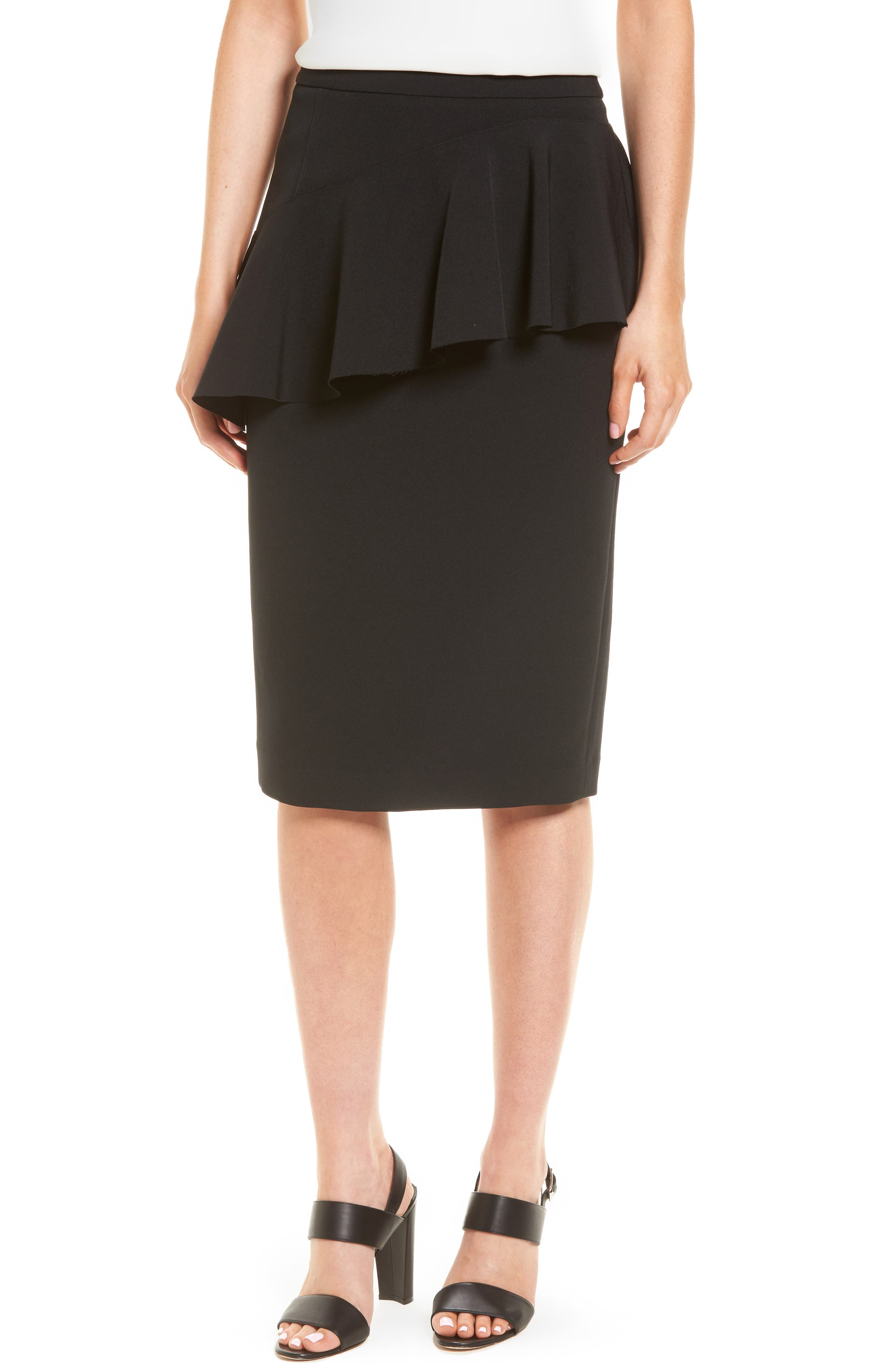 Ruffle Detail Pencil Skirt,                             Main thumbnail 1, color,                             Black