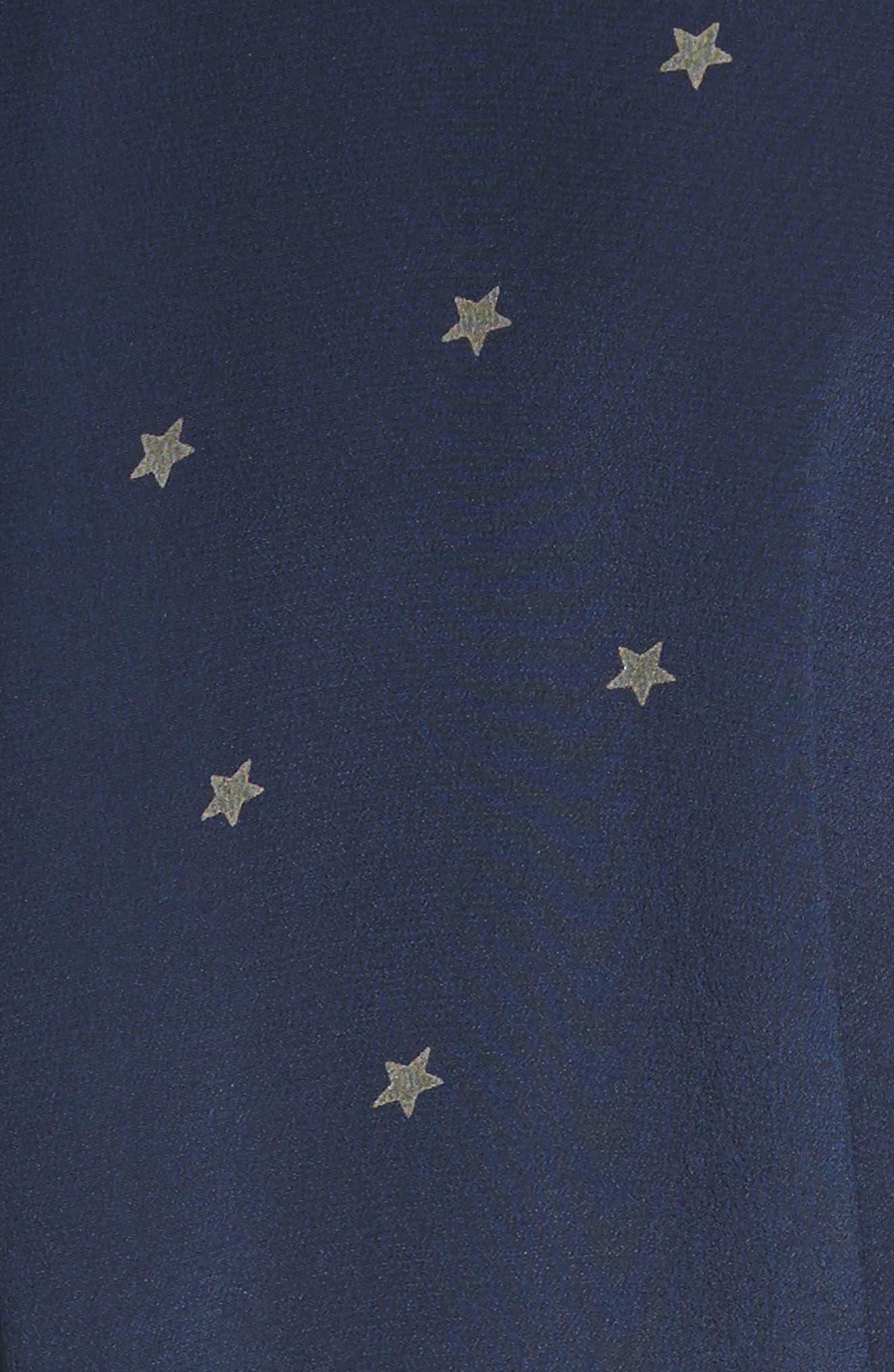 Stella Star Print Silk Shirtdress,                             Alternate thumbnail 5, color,                             Navy/ Beetle Combo