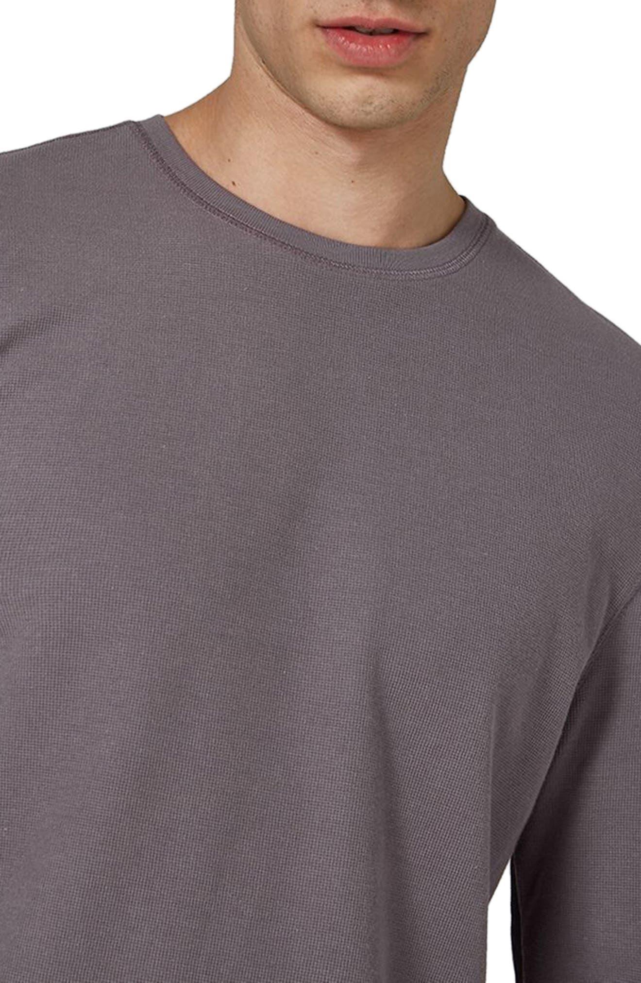 Waffle Knit Long Sleeve T-Shirt,                             Alternate thumbnail 3, color,                             Purple