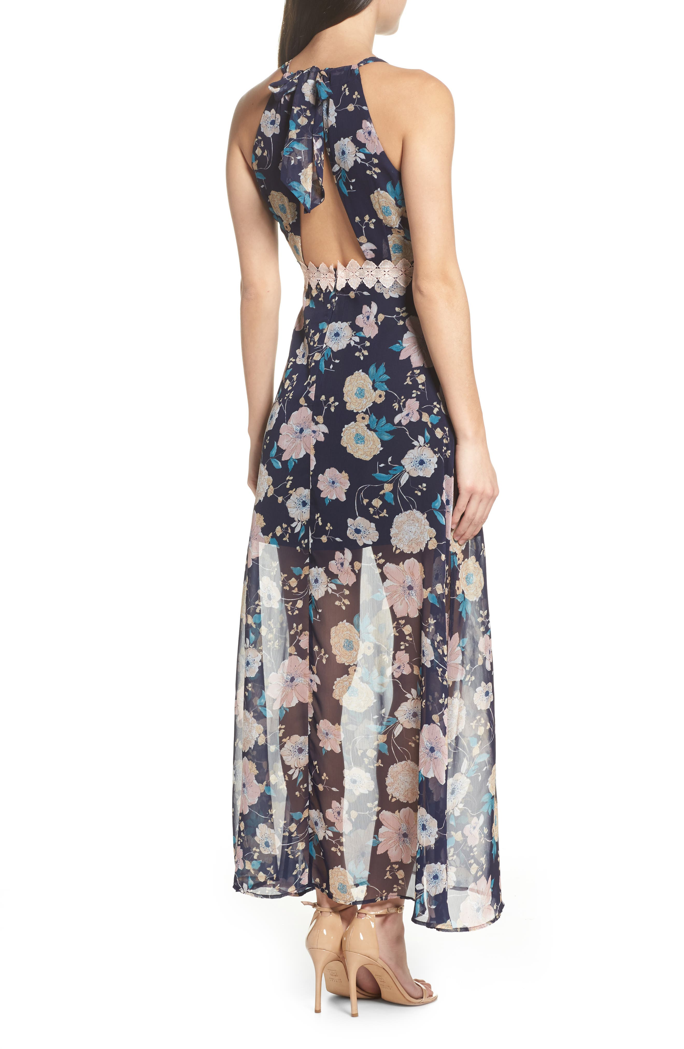 Brylee Floral Print Maxi Dress,                             Alternate thumbnail 2, color,                             Brylee Navy Multi