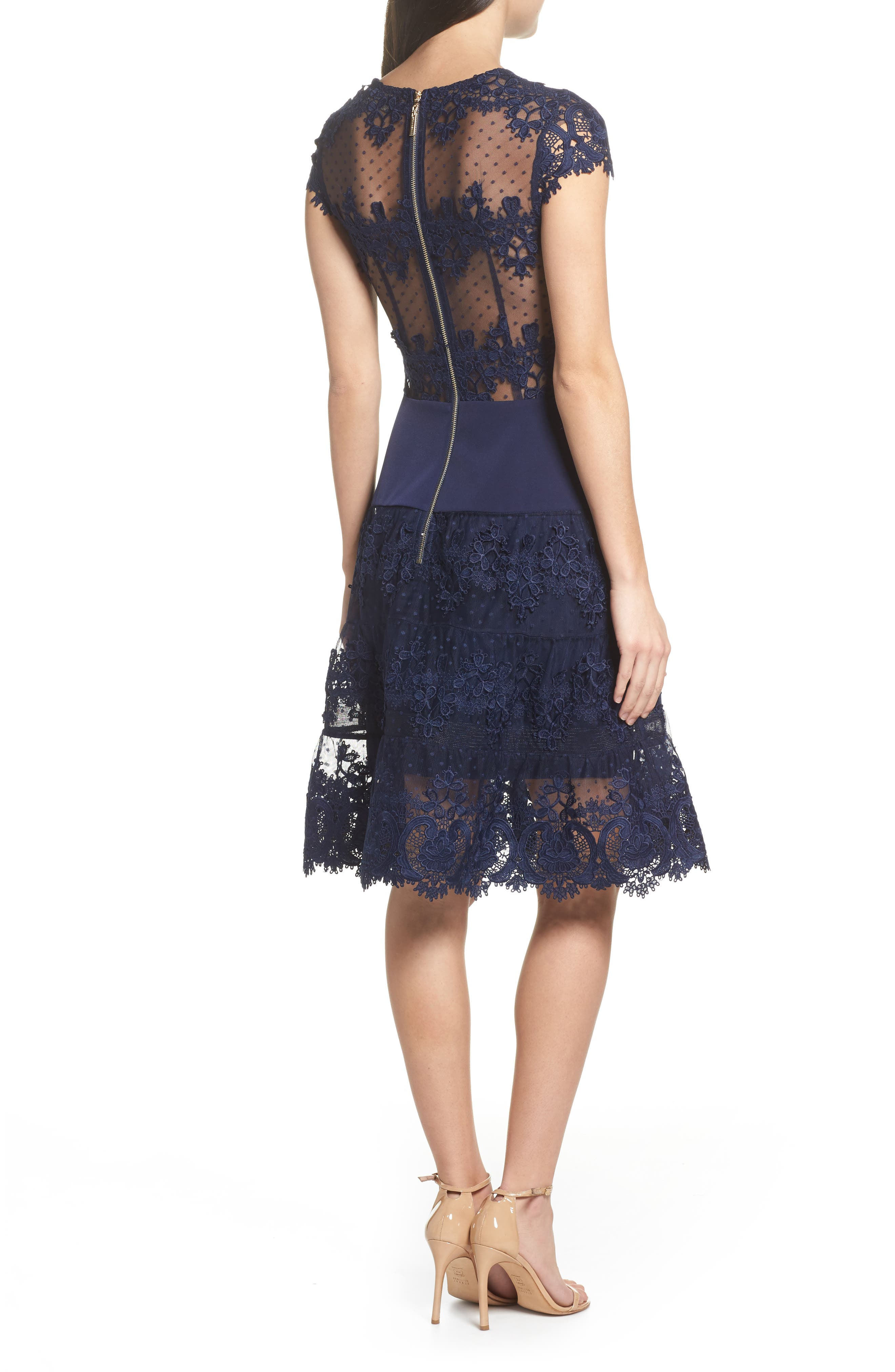 Flamenco Lace Inset Fit & Flare Dress,                             Alternate thumbnail 3, color,                             Navy
