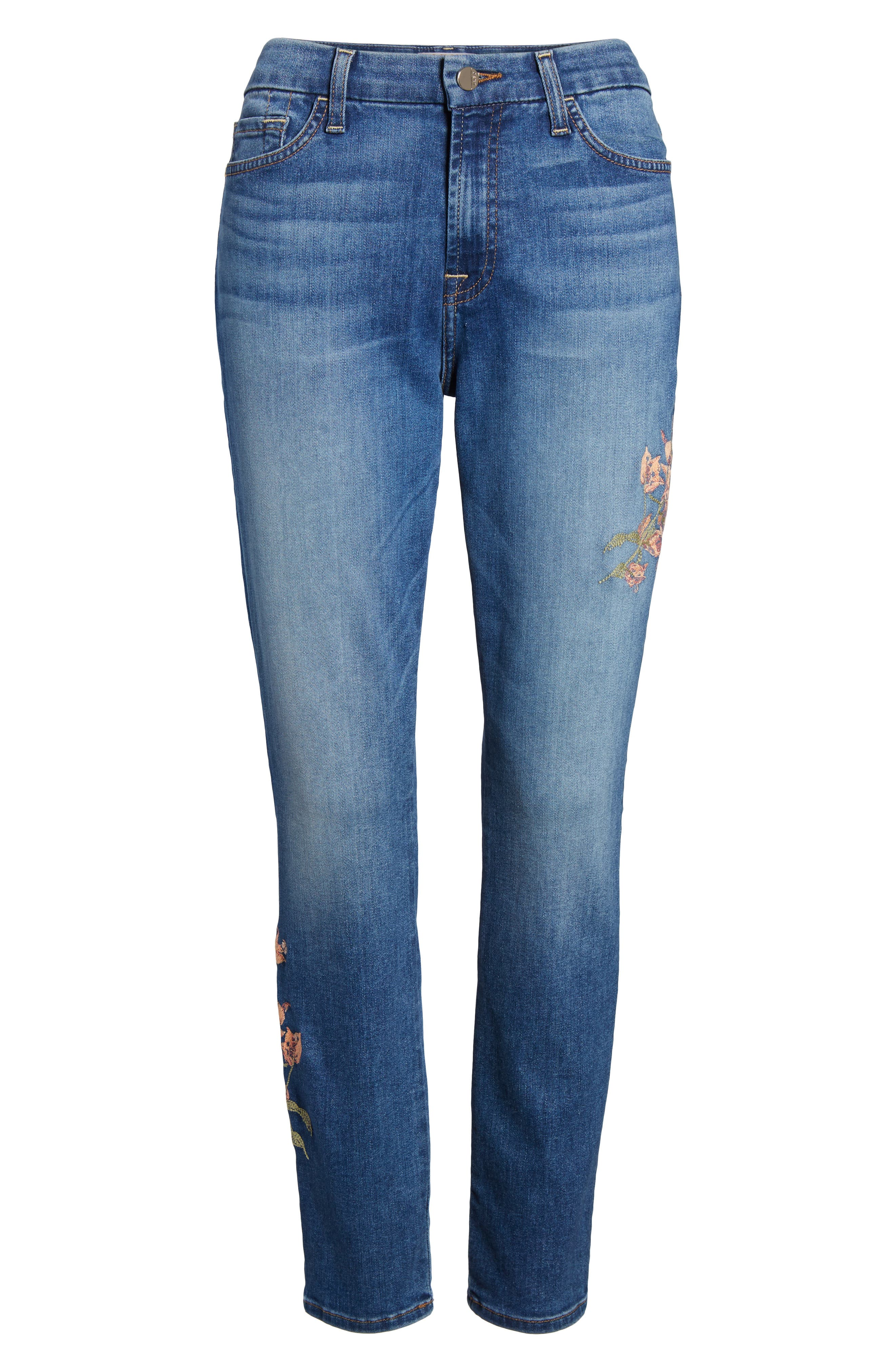 Embroidered Ankle Skinny Jeans,                             Alternate thumbnail 6, color,                             Garden City