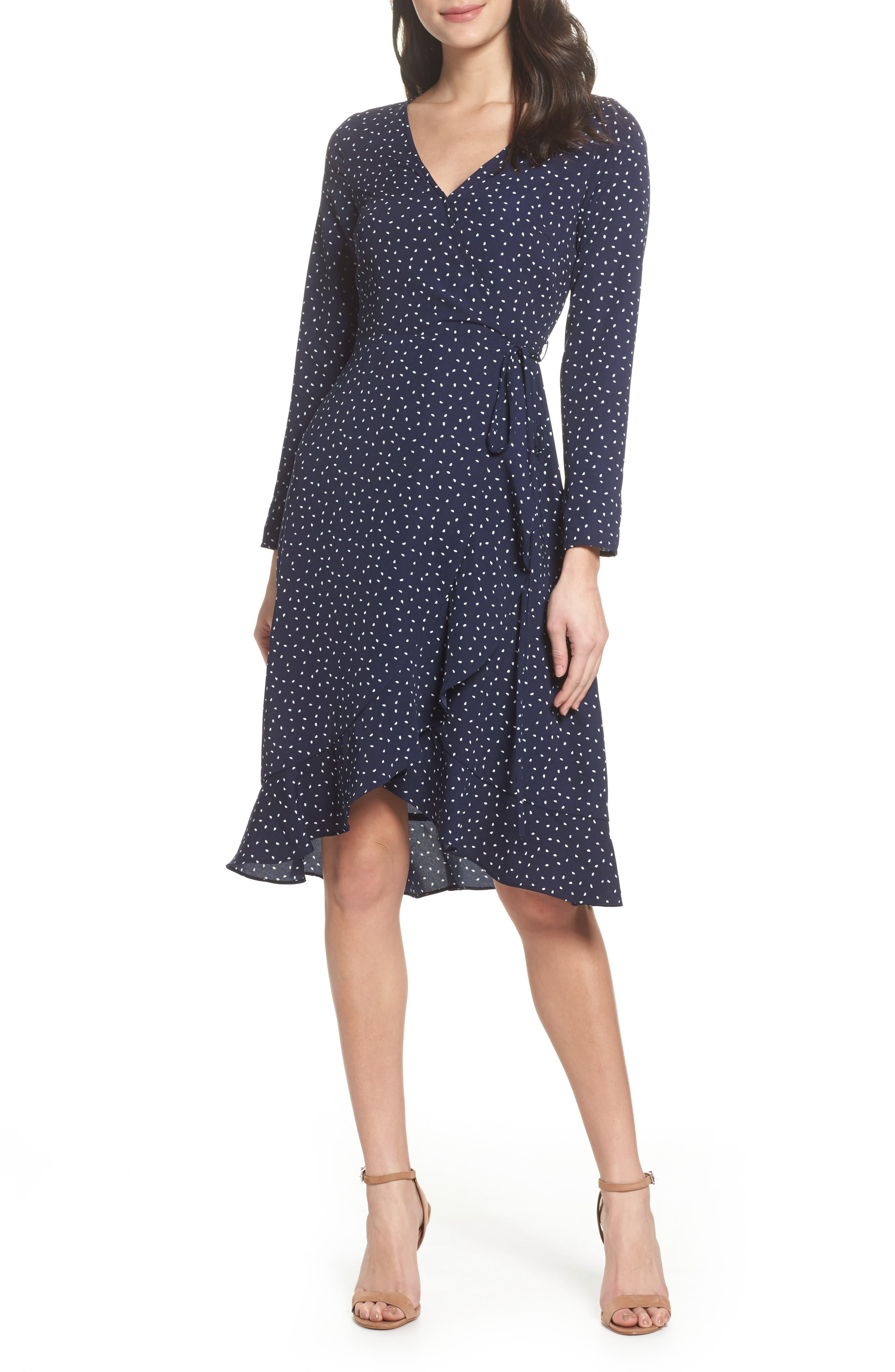 Print Wrap Dress,                         Main,                         color, Small Mixed Dot