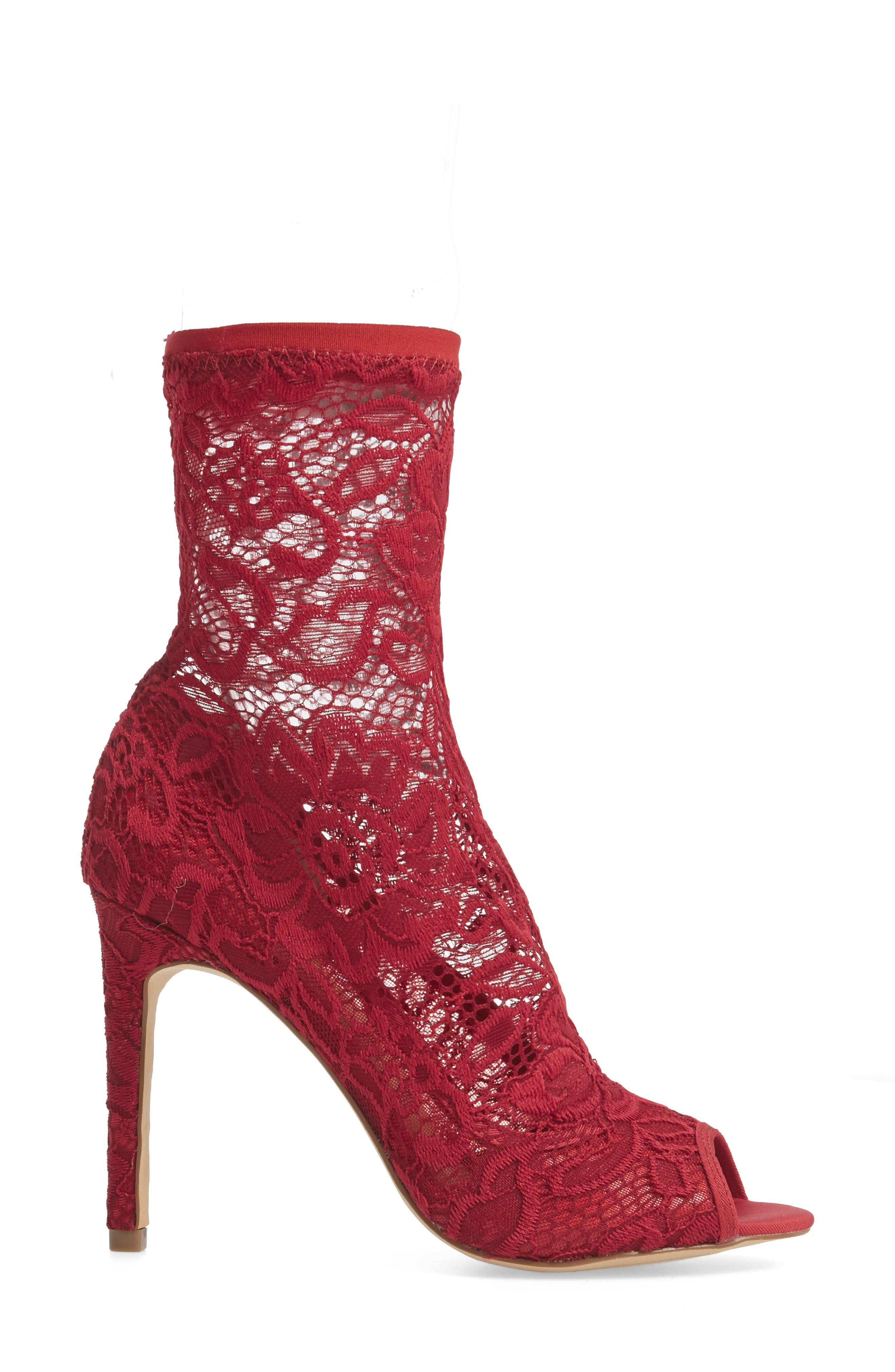 Imaginary Lace Sock Bootie,                             Alternate thumbnail 3, color,                             Scarlet Fabric