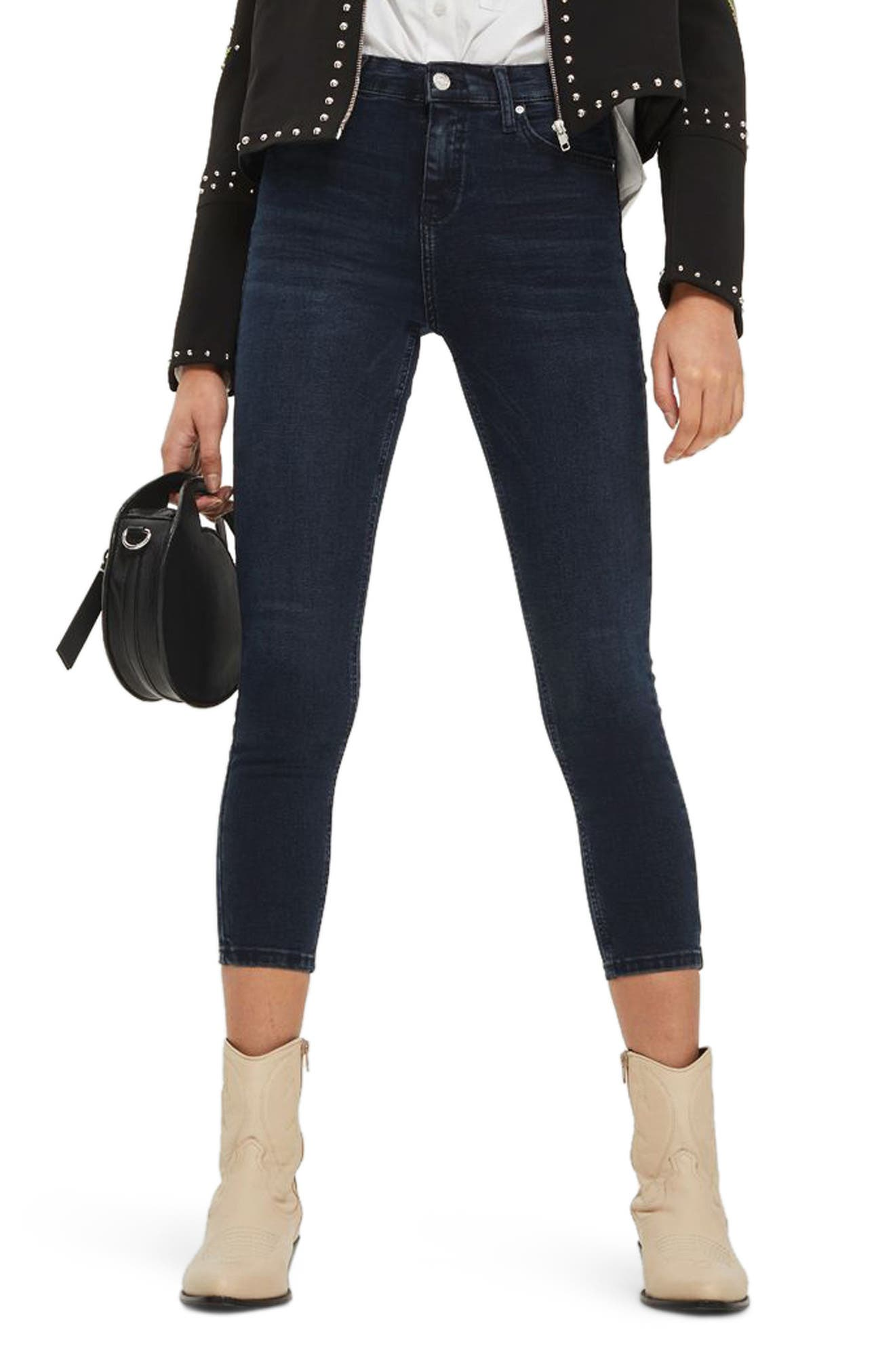 Jamie Crop Skinny Jeans,                             Main thumbnail 1, color,                             Dark Blue