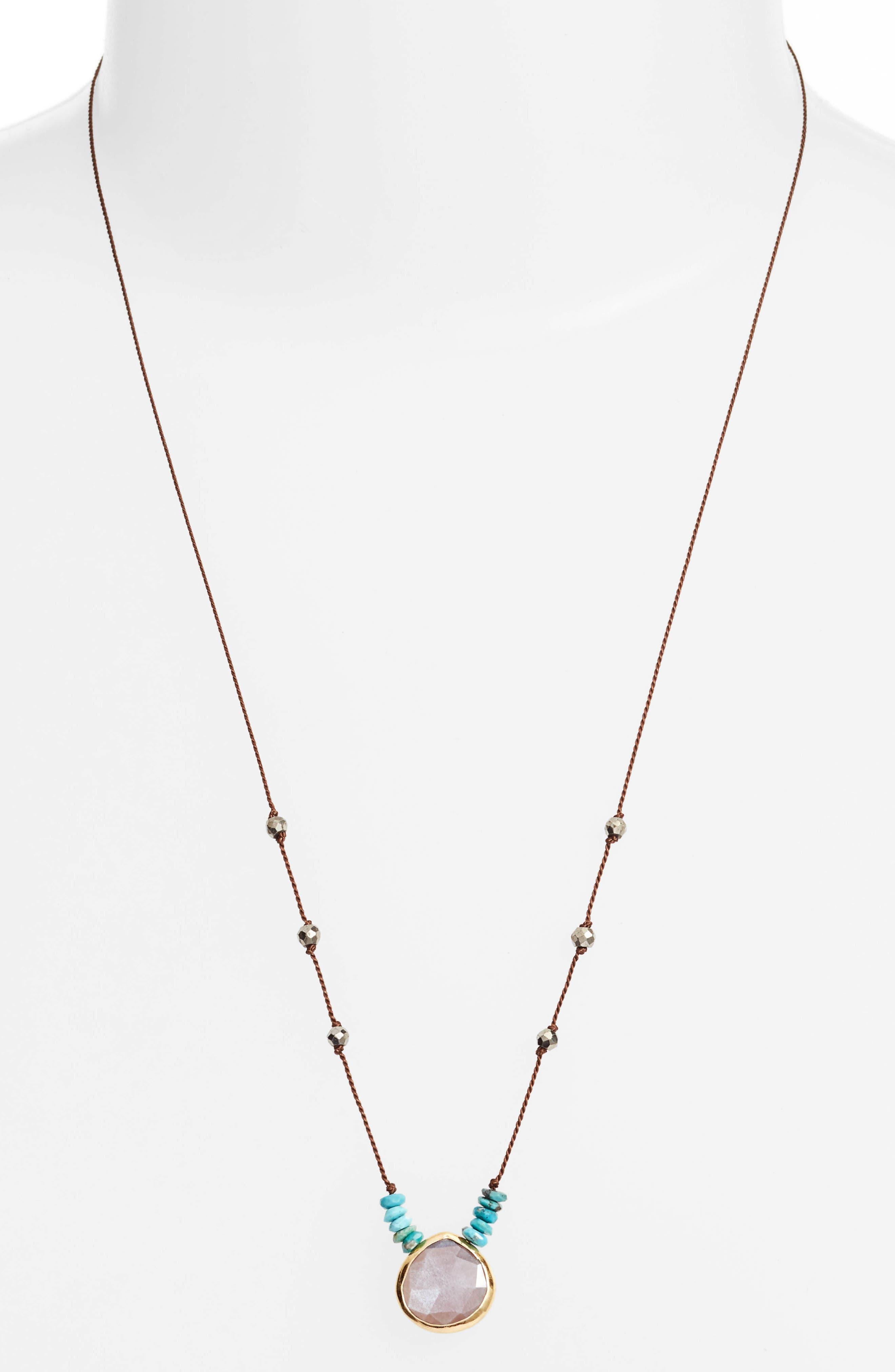 Sylvie Semiprecious Stone Necklace,                             Main thumbnail 1, color,                             Brown