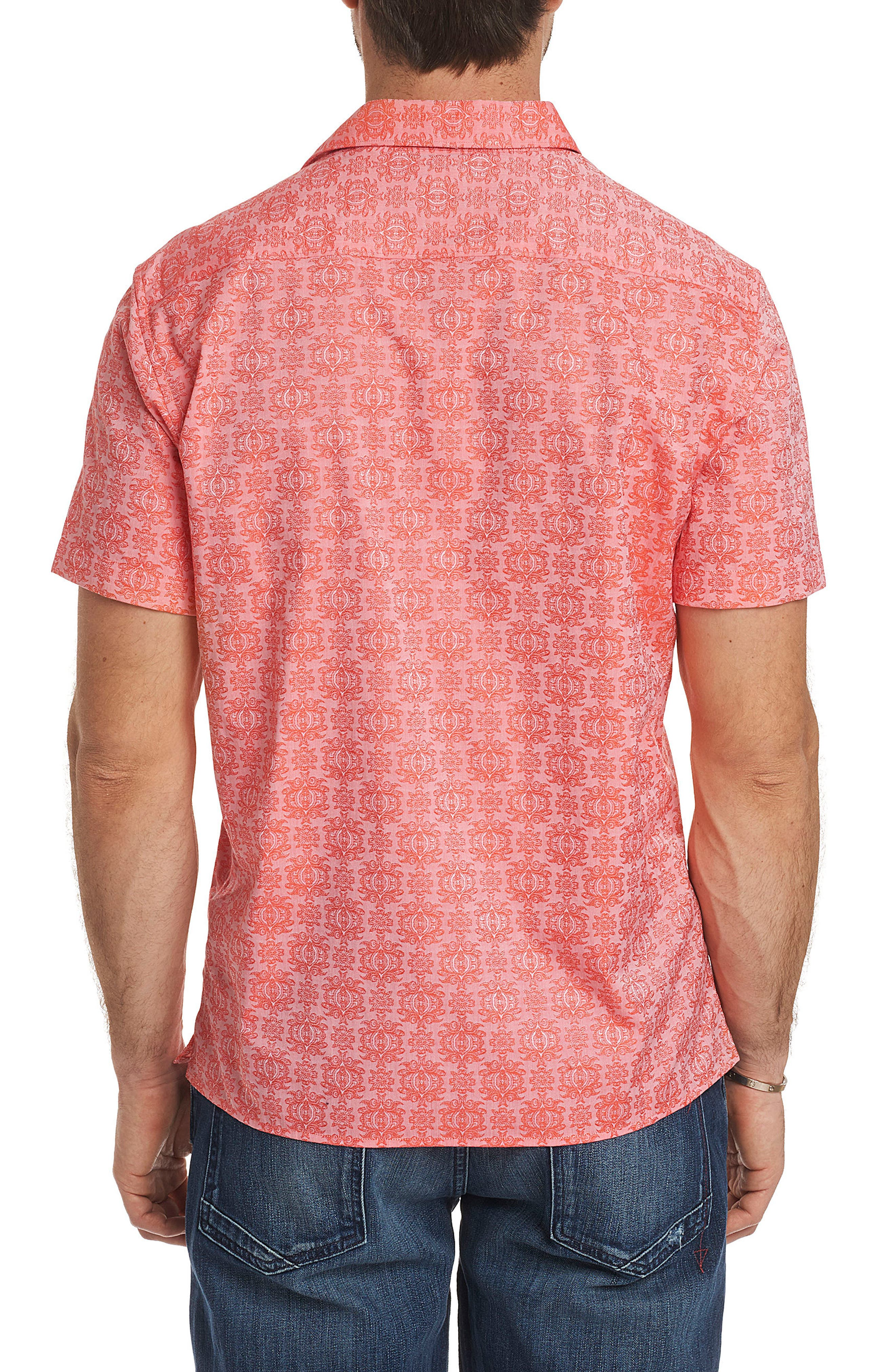 Cullen Squared Regular Fit Short Sleeve Sport Shirt,                             Alternate thumbnail 2, color,                             Coral