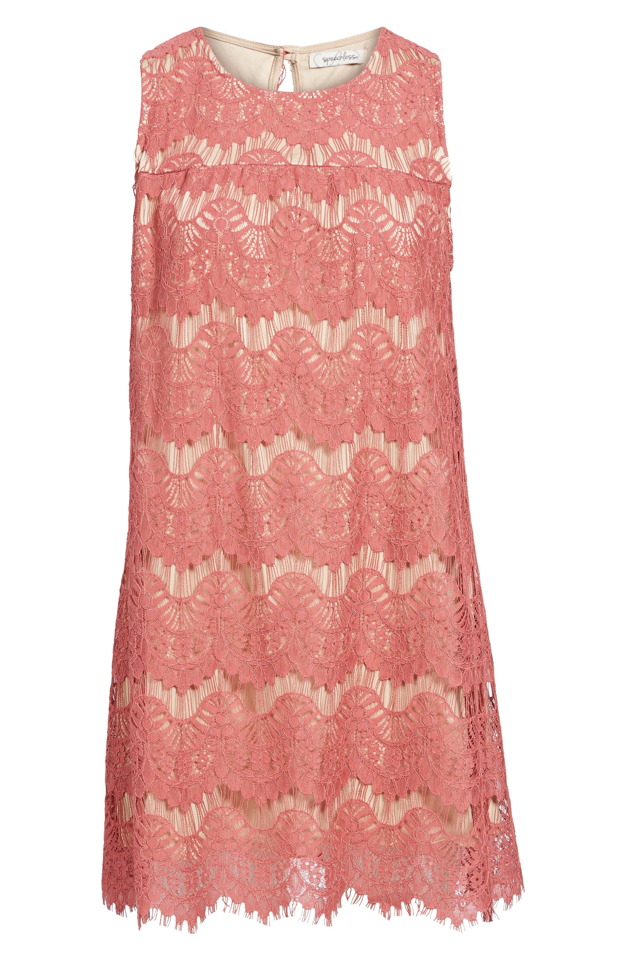 Lace Shift Dress,                             Alternate thumbnail 6, color,                             Mauve/ Nude