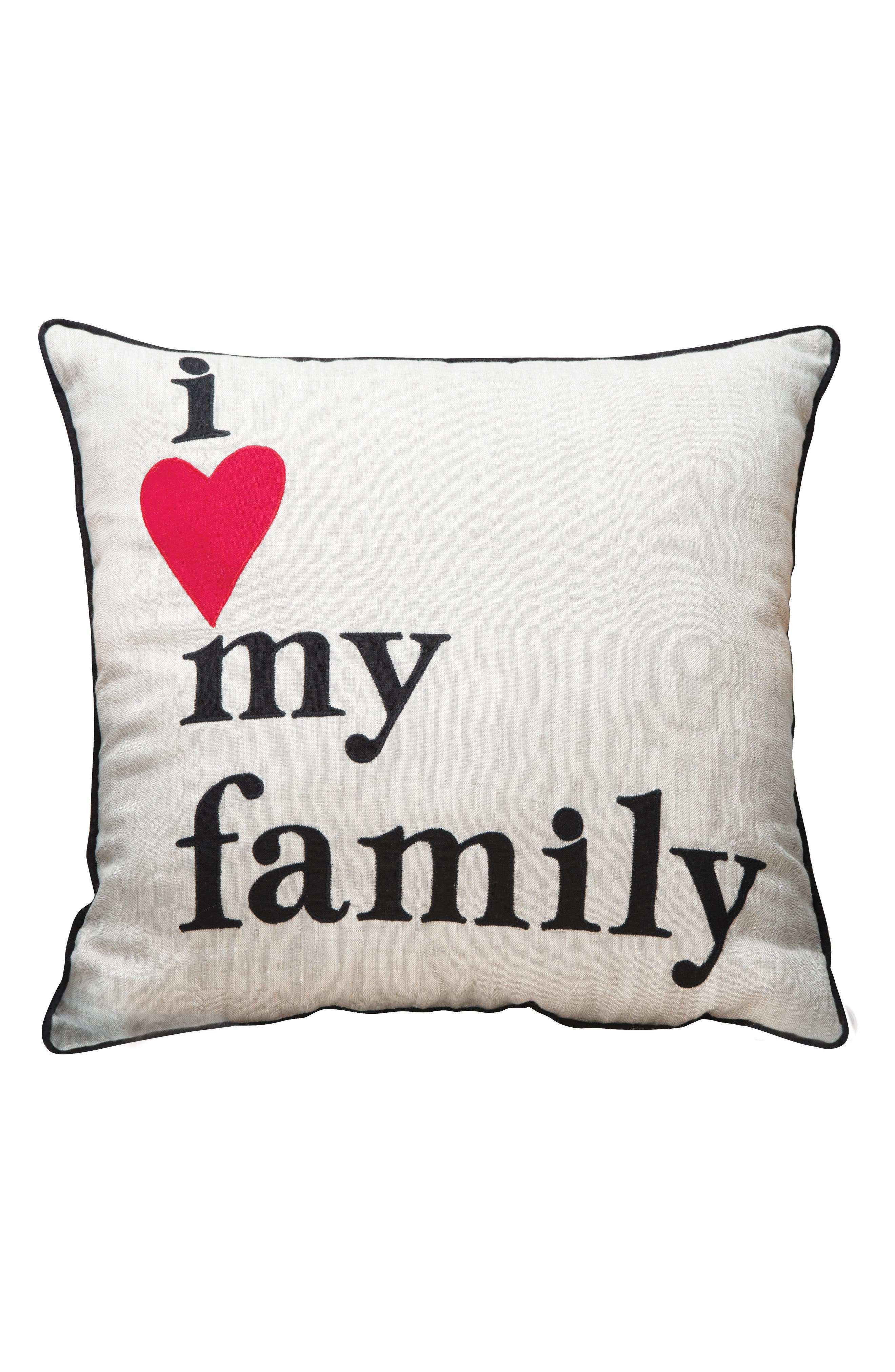 I Love My Family Accent Pillow,                         Main,                         color, Cream/ Black/ Red