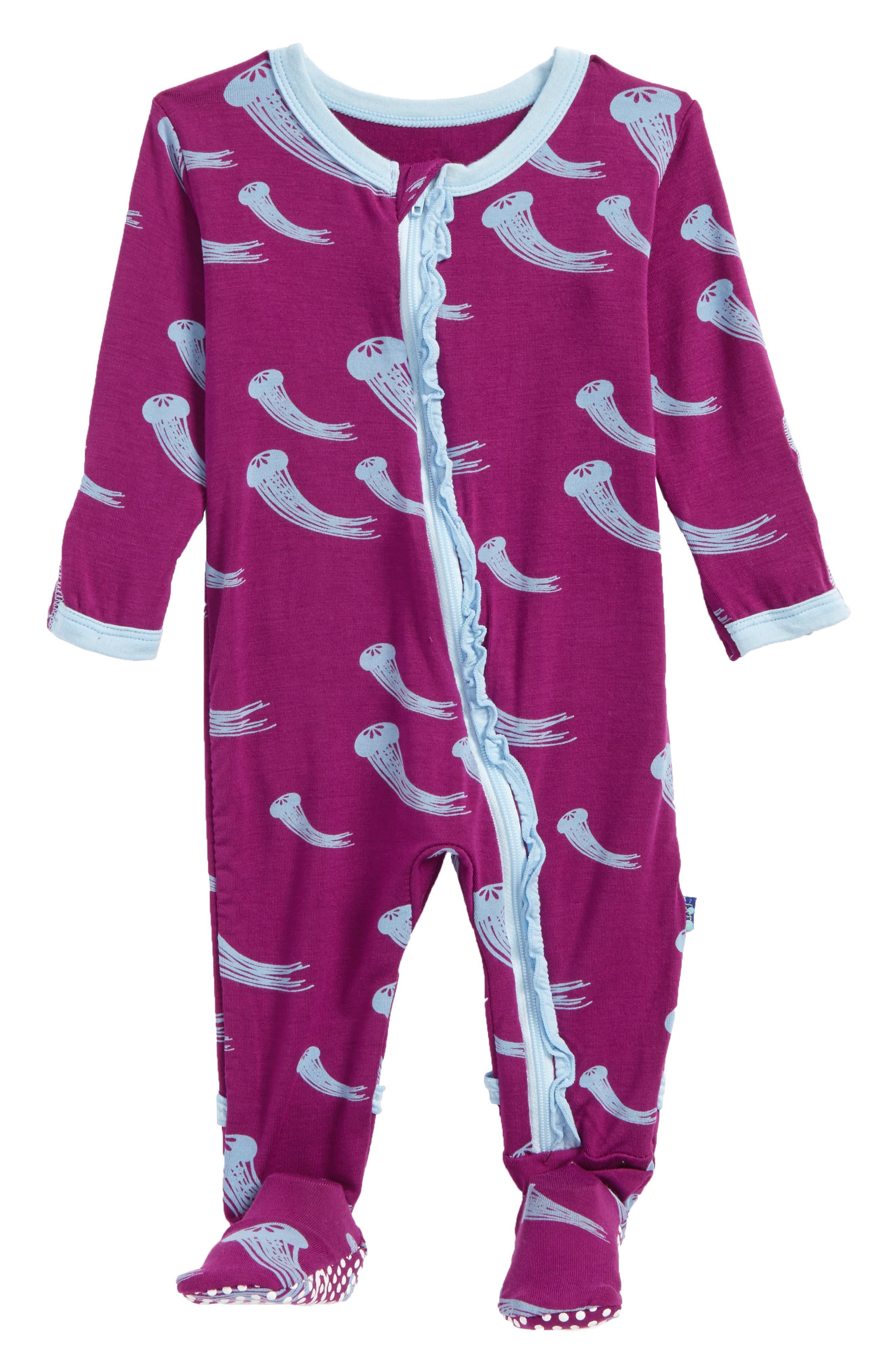 Alternate Image 1 Selected - Kickee Pants Print Ruffle Footie (Baby Girls)