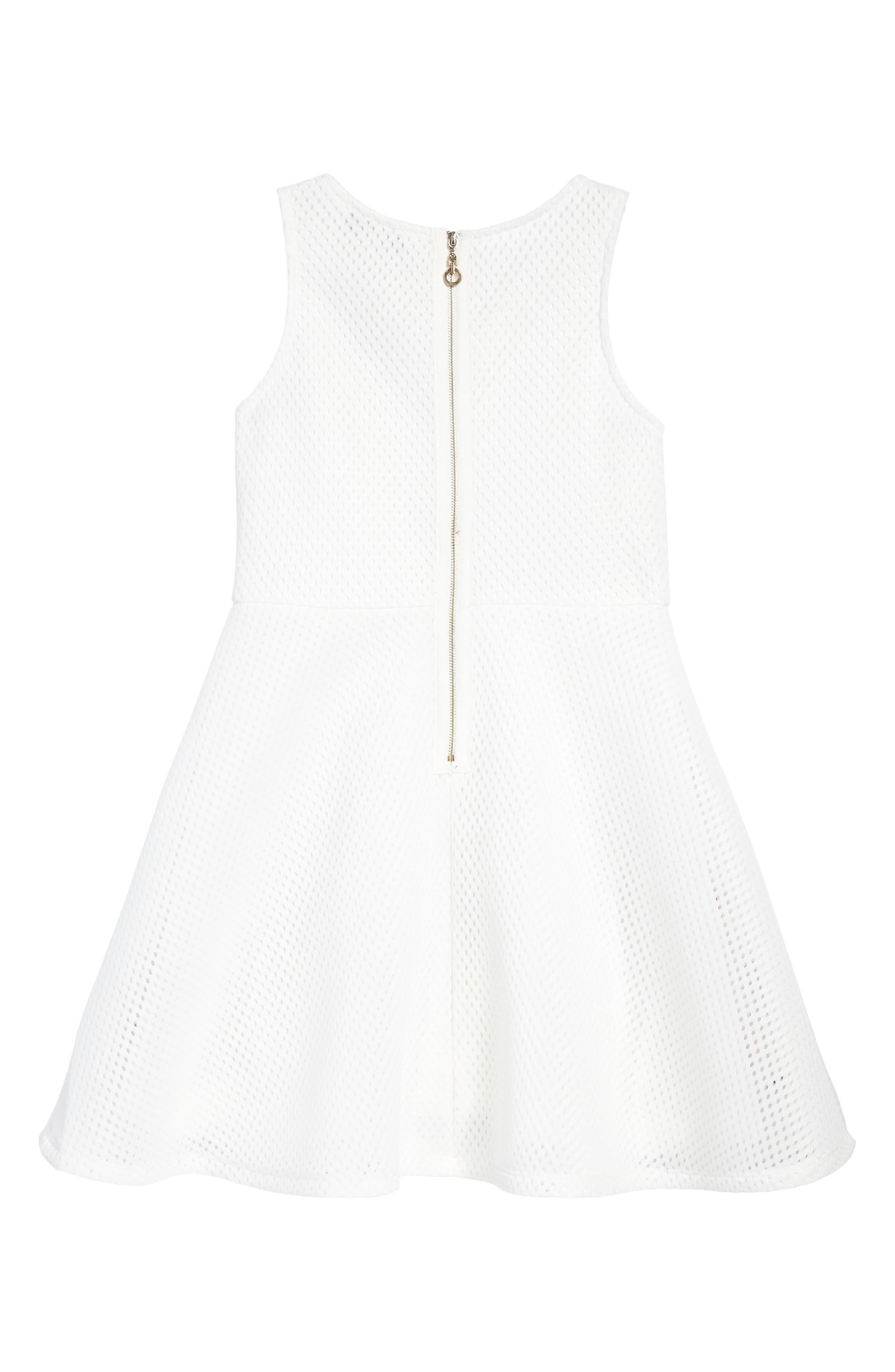 Appliqué Fit & Flare Dress,                             Alternate thumbnail 2, color,                             White