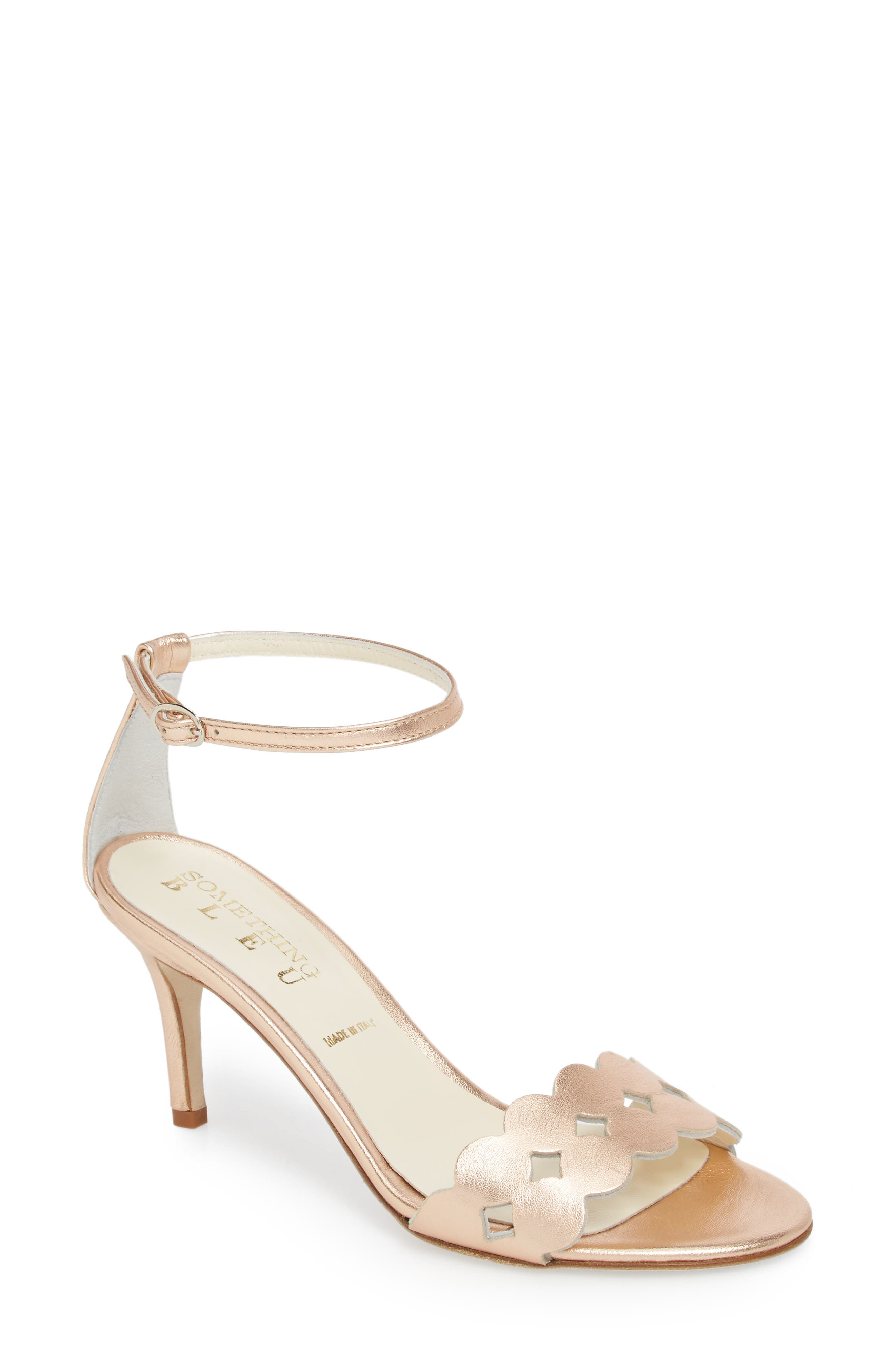 Gina Ankle Strap Sandal,                             Main thumbnail 1, color,                             Rose Gold Metallics