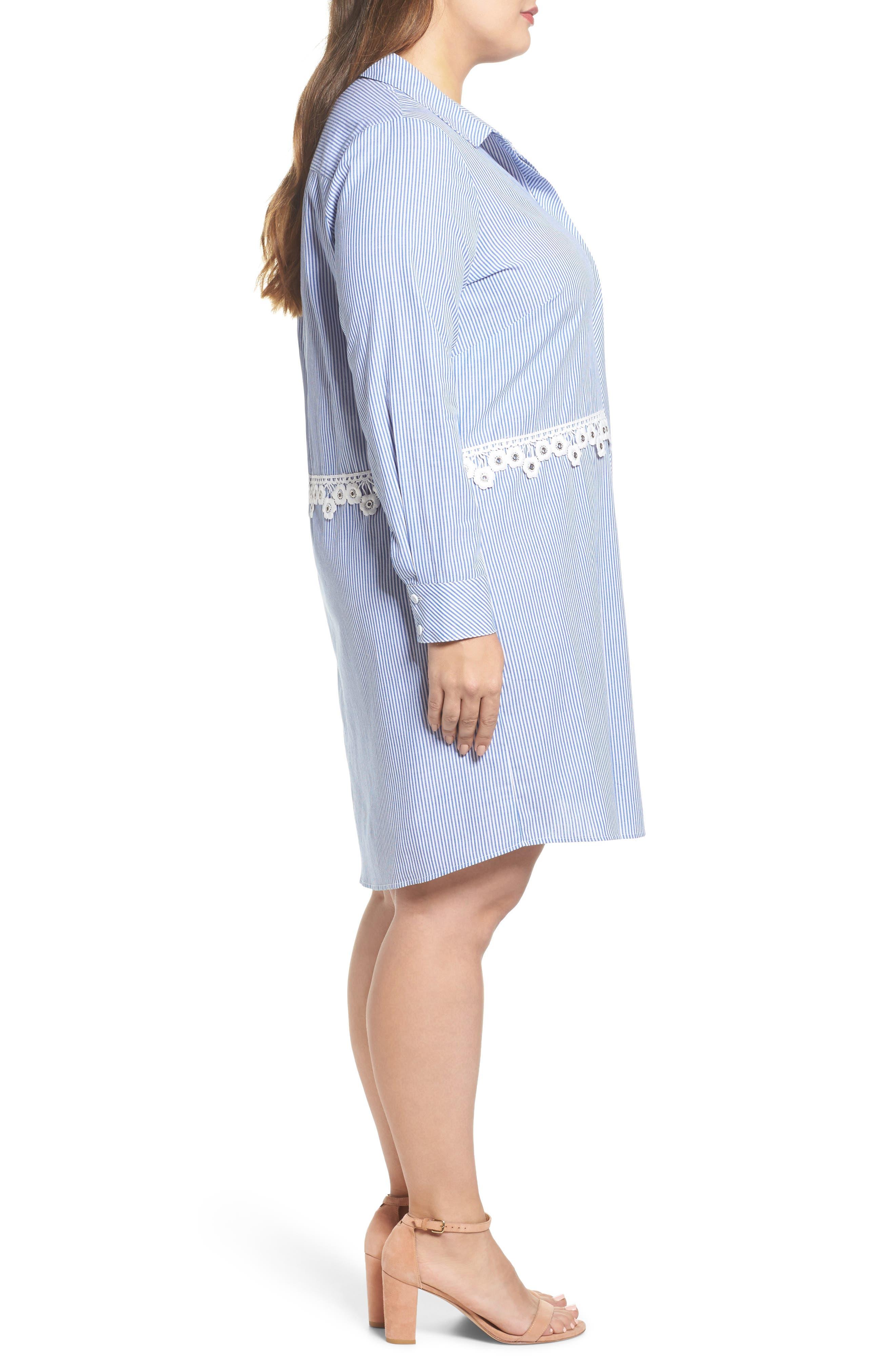 Flower Waist Stripe Shirtdress,                             Alternate thumbnail 3, color,                             Blue White Stripe