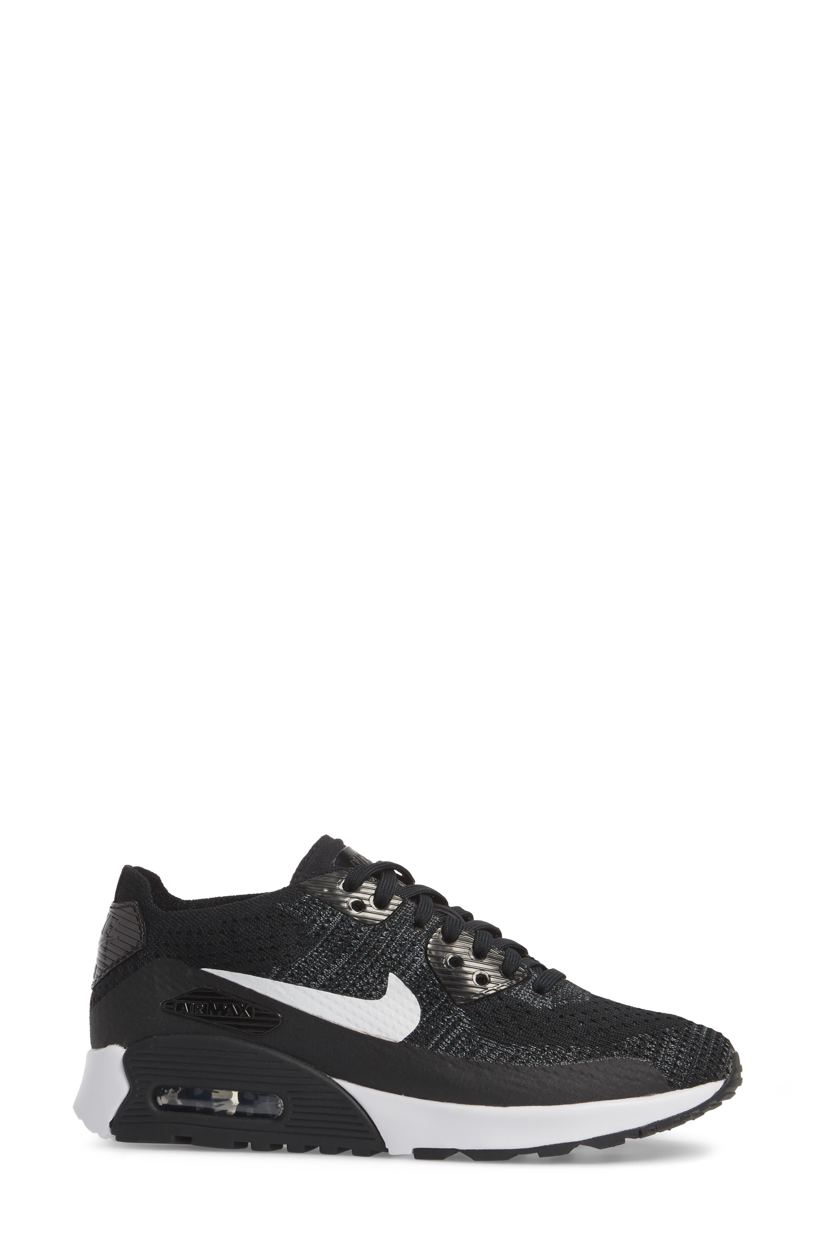 Air Max 90 Flyknit Ultra 2.0 Sneaker,                             Alternate thumbnail 3, color,                             Black/ White/ Dark Grey