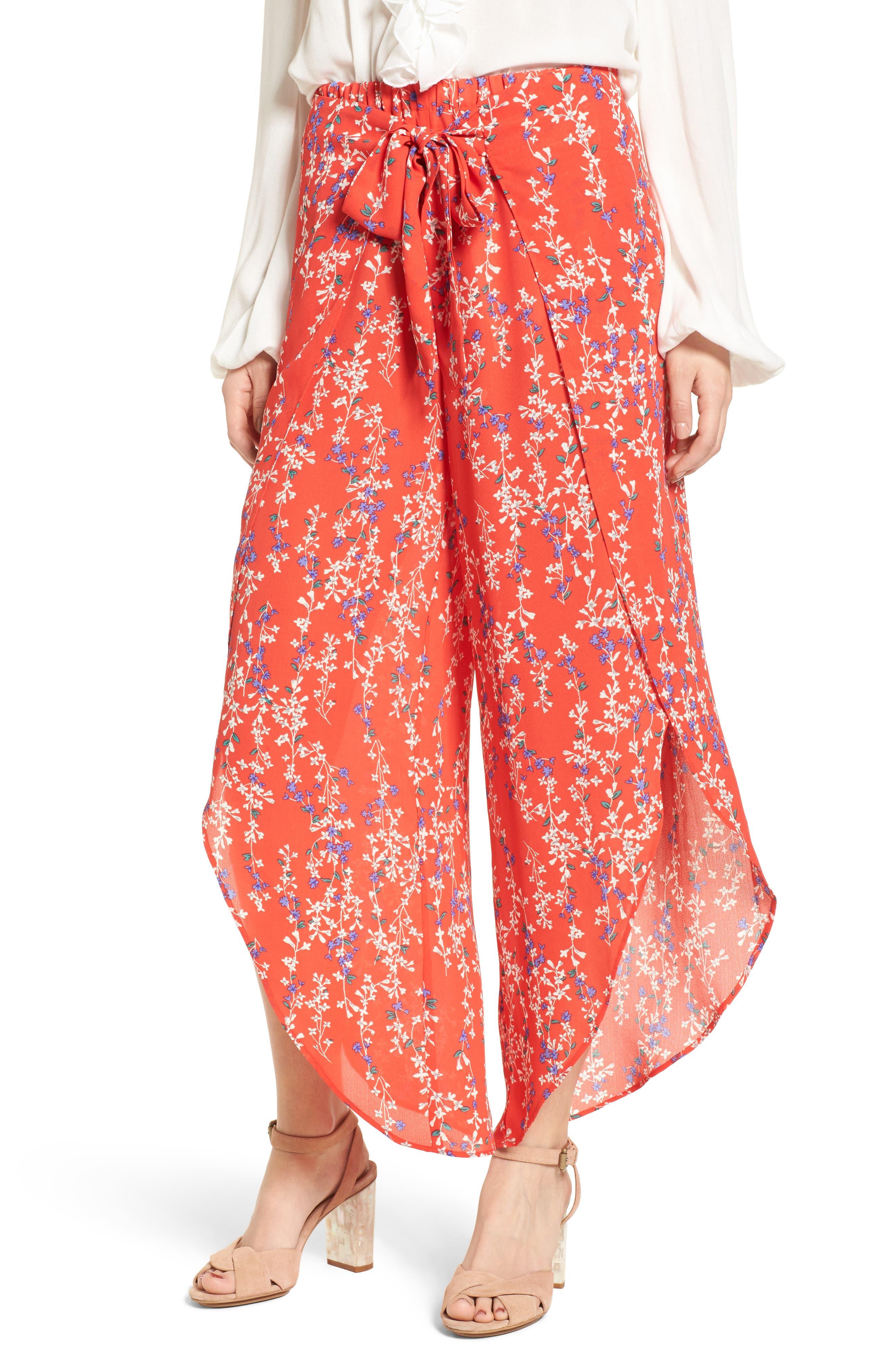 Floral Tie Front Split Hem Pants,                         Main,                         color, Red Floral