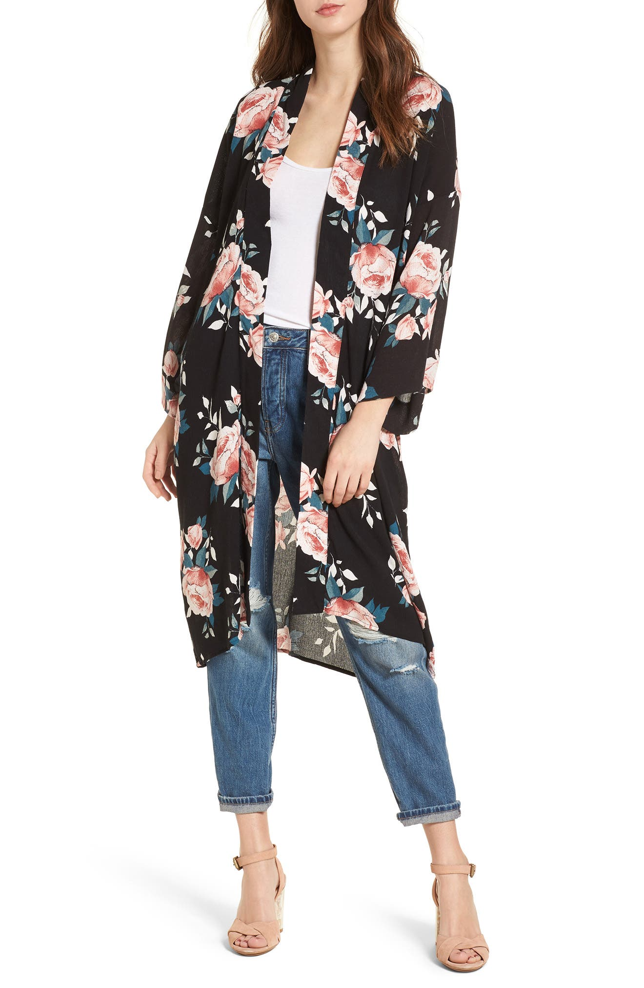 Rose Print Kimono,                         Main,                         color, Black
