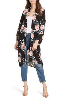 Mimi Chica Rose Print Kimono