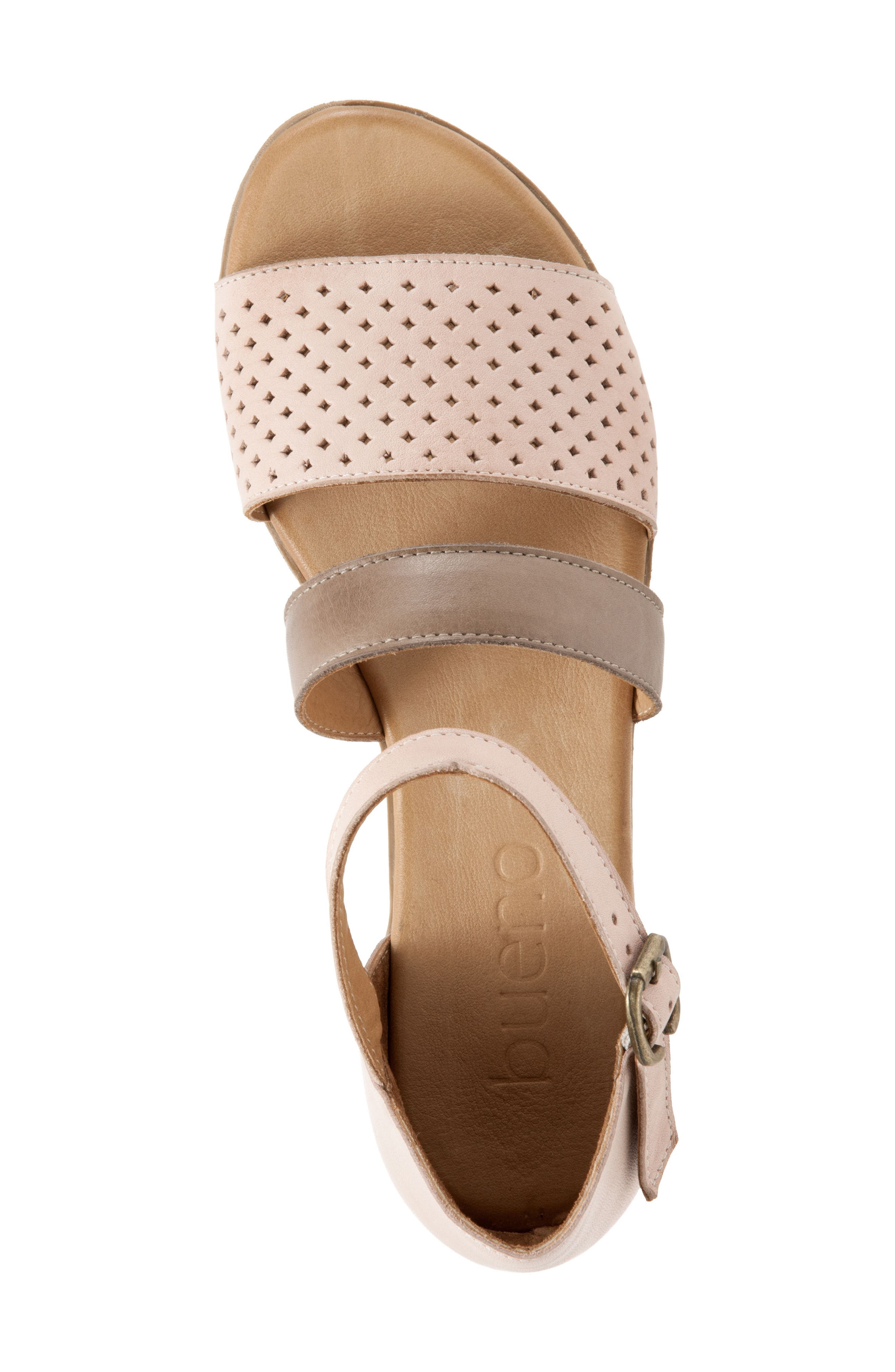 Janet Perforated Flat Sandal,                             Alternate thumbnail 5, color,                             Pale Pink Leather
