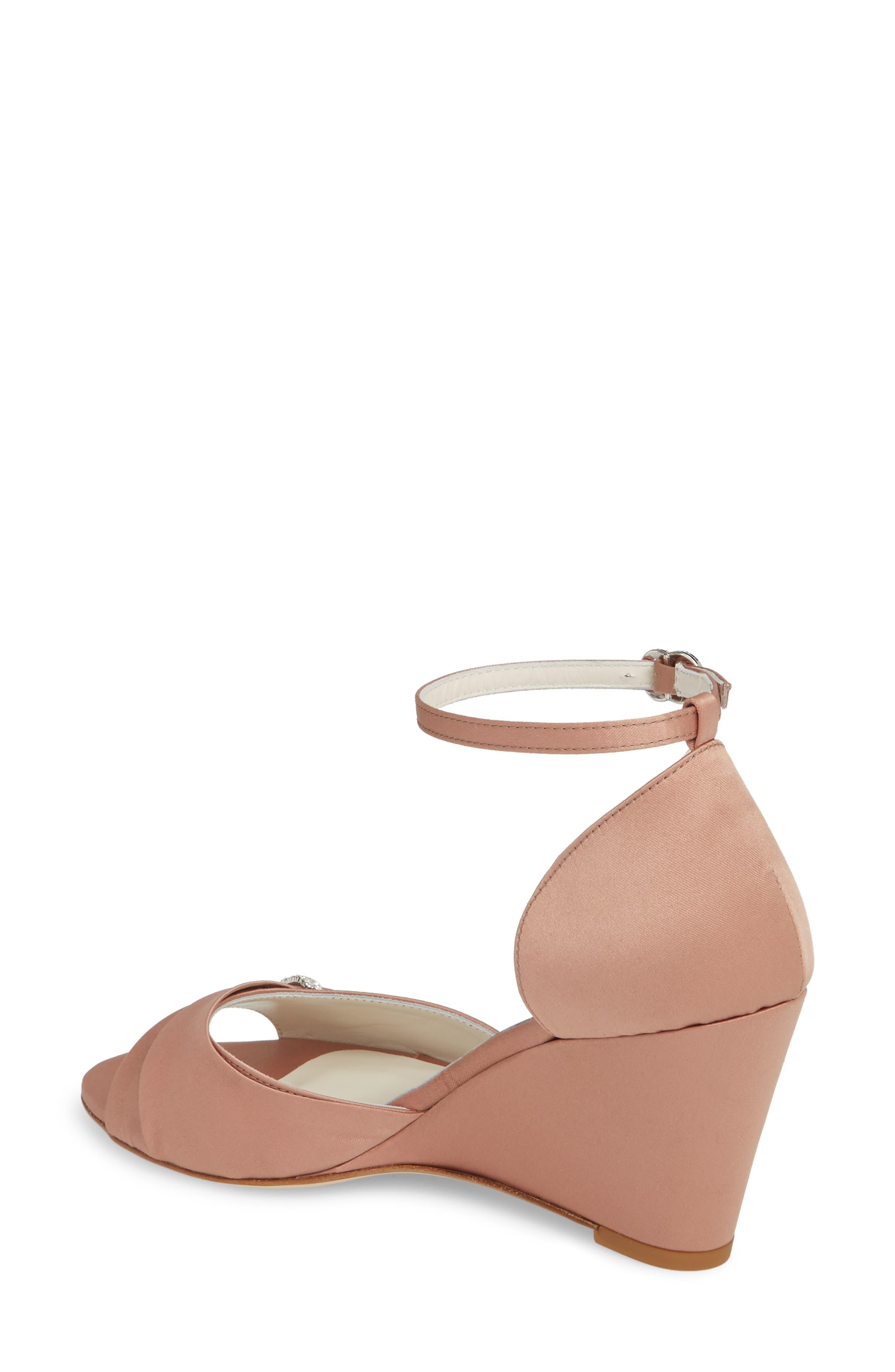 Queenie Ankle Strap Wedge Sandal,                             Alternate thumbnail 2, color,                             Blush Satin
