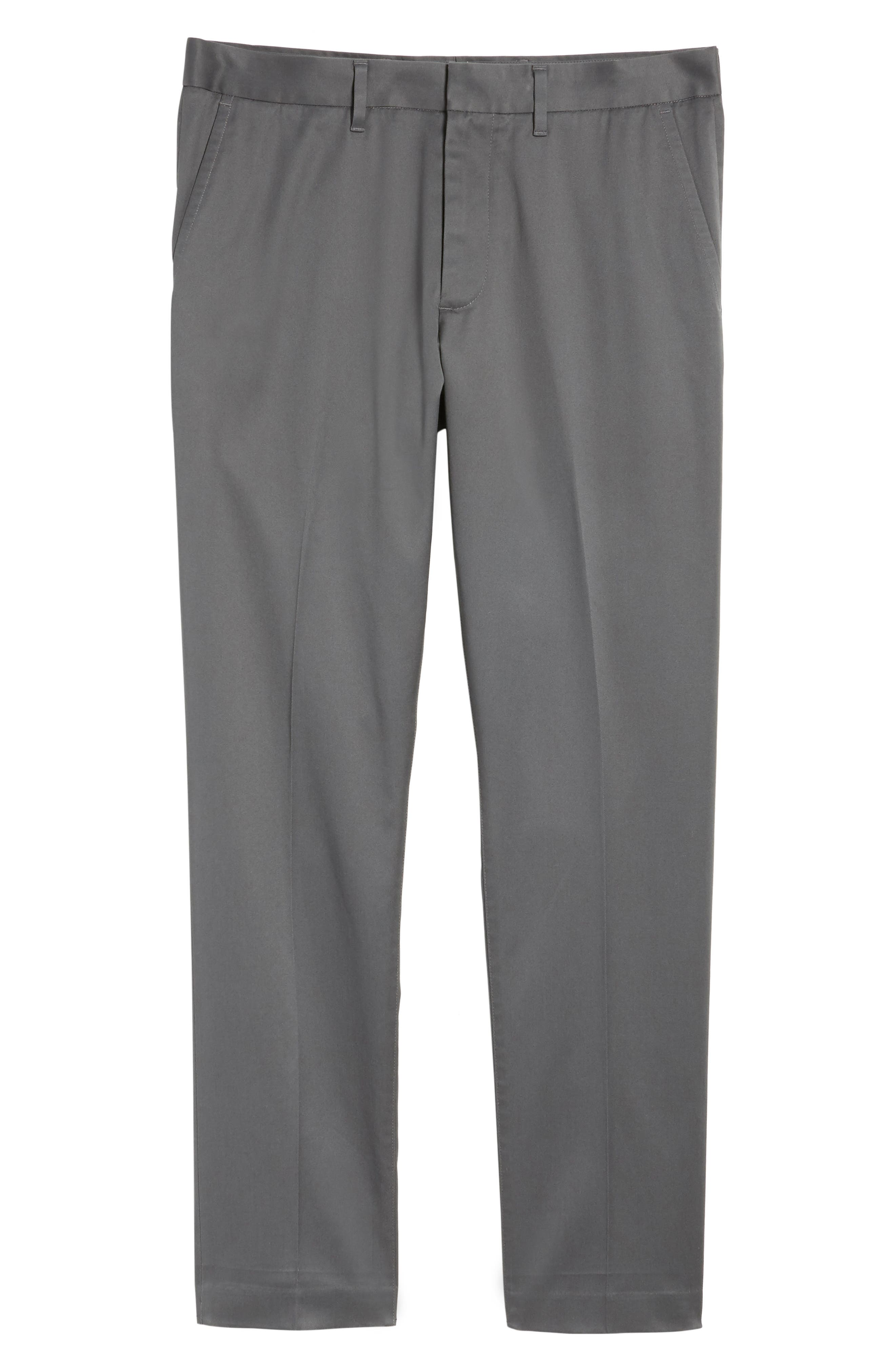 Athletic Fit Non-Iron Chinos,                             Alternate thumbnail 6, color,                             Grey Gate