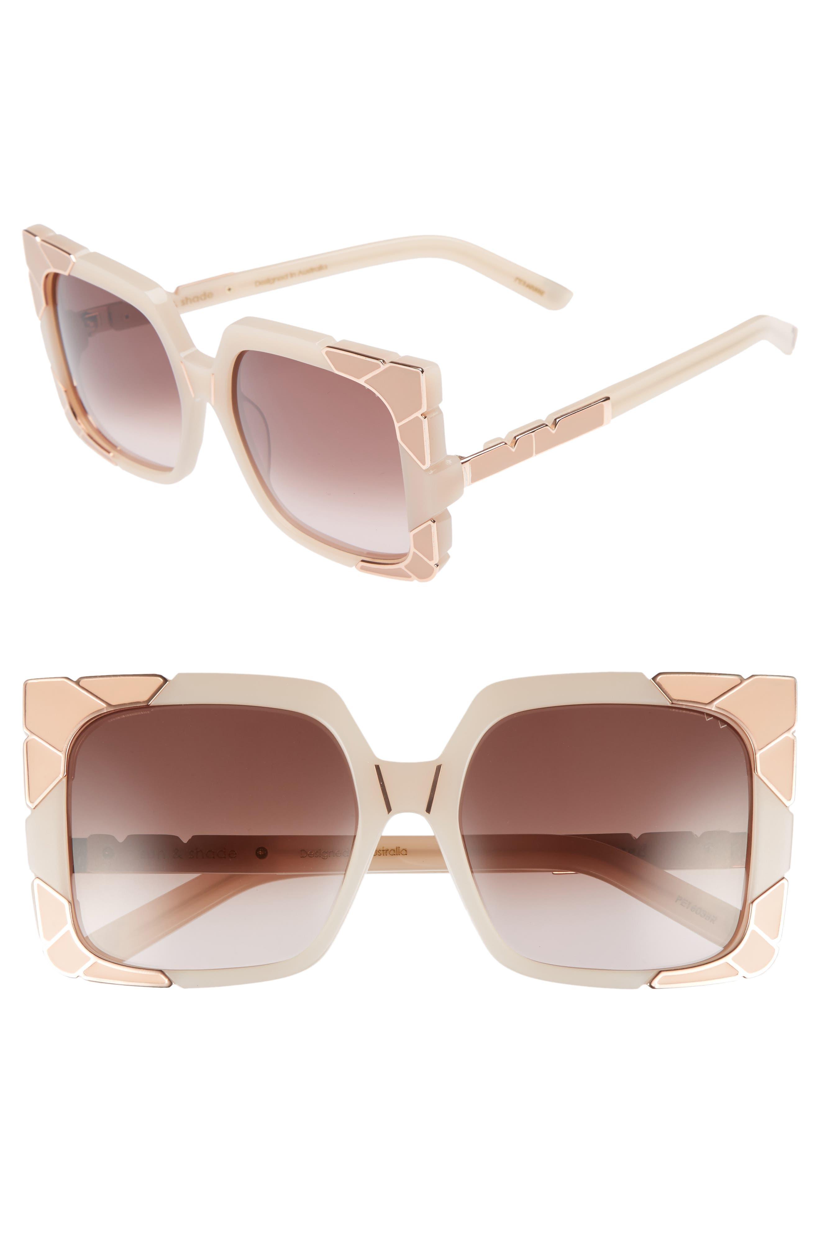 Sun & Shade 55mm Square Retro Sunglasses,                             Main thumbnail 1, color,                             Blush/ Rose Gold/ Brown