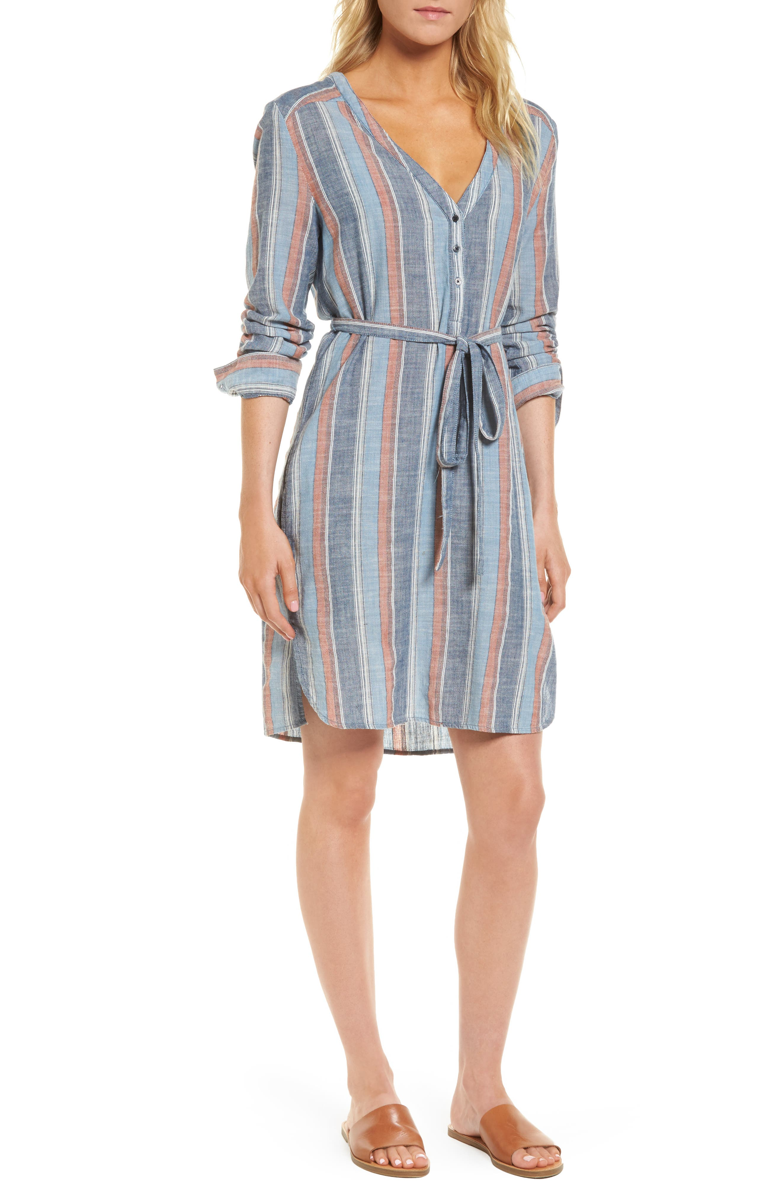 Anna Henley Dress,                         Main,                         color, Blue Fig Multi