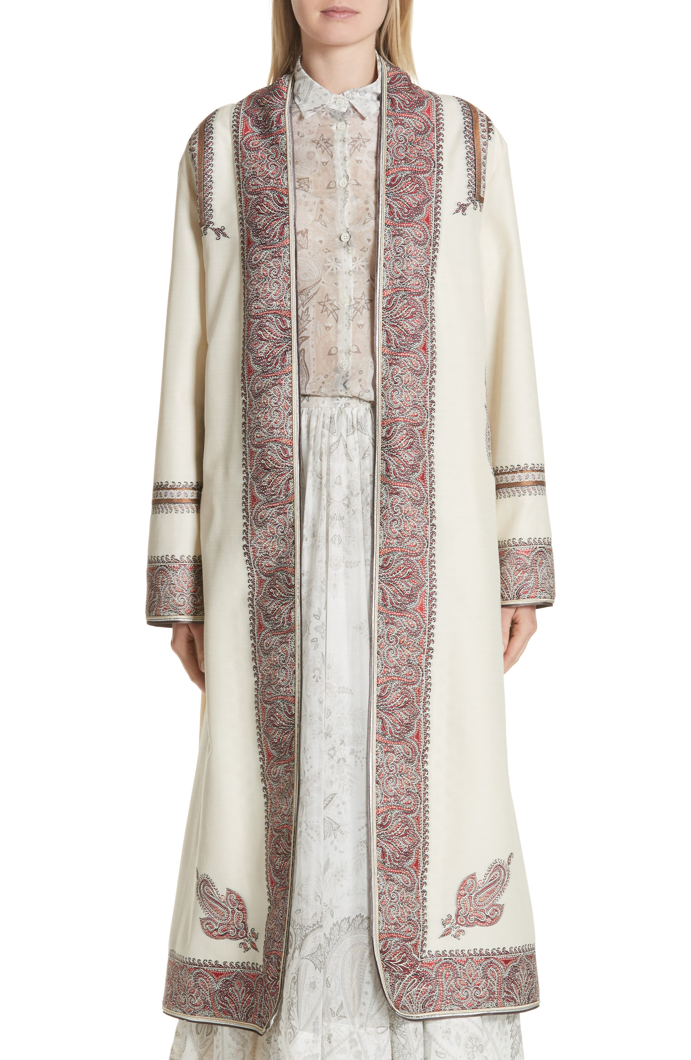 Metallic Embroidered Wrap Coat,                         Main,                         color, White