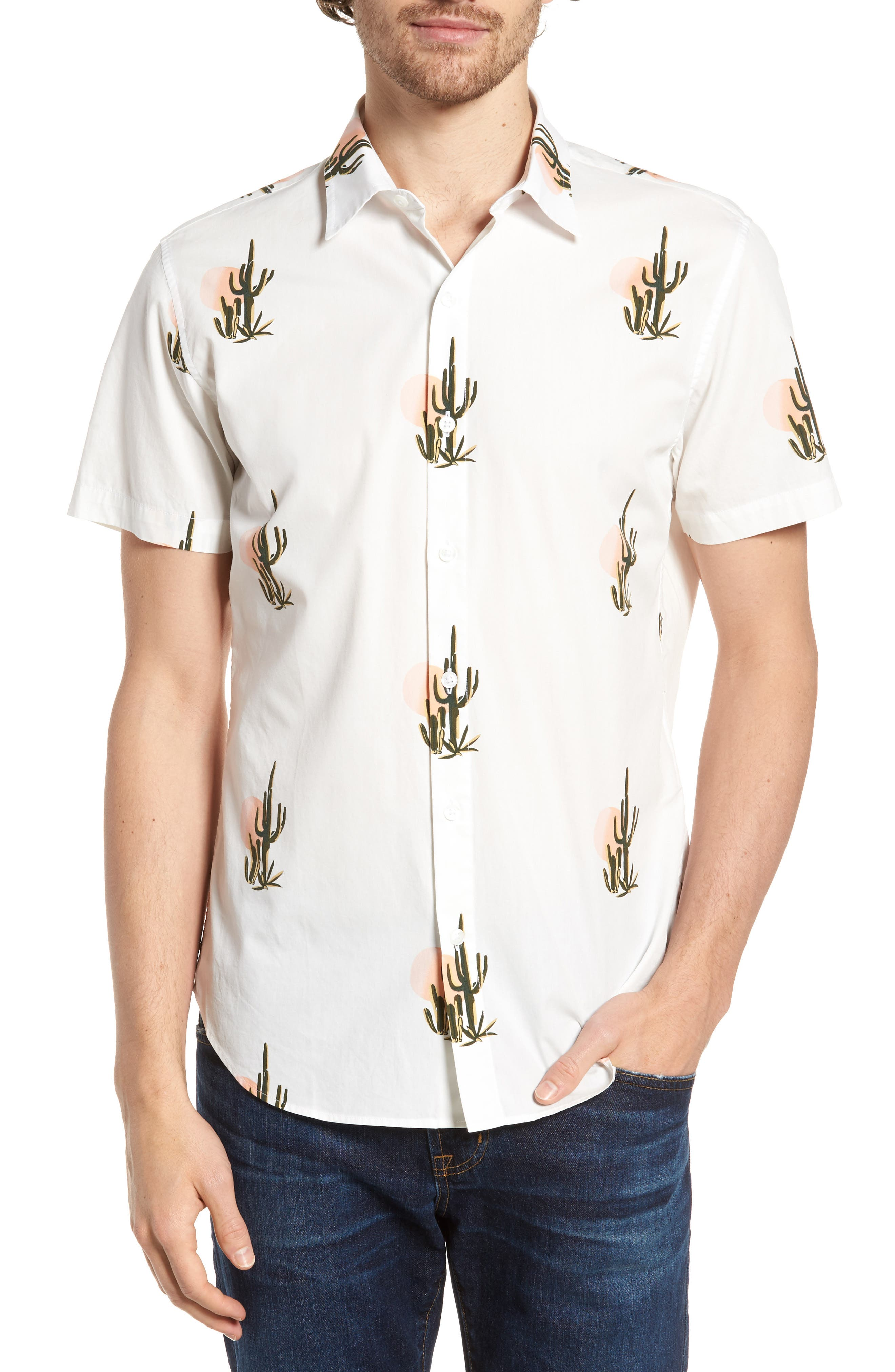 Slim Fit Print Short Sleeve Sport Shirt,                             Main thumbnail 1, color,                             Sunset Cacti - Sorbet