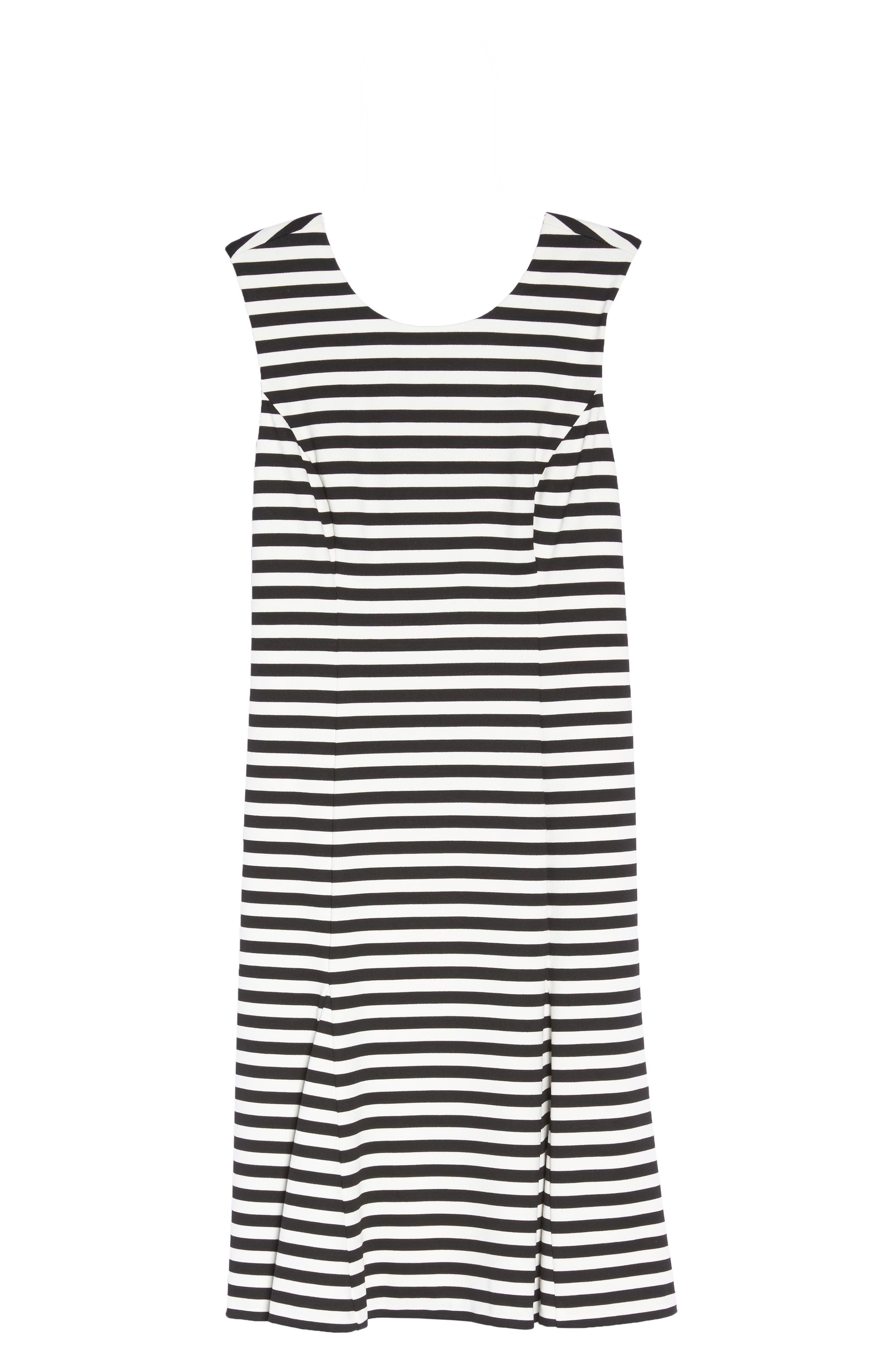 Stripe Scuba Crepe Fit & Flare Dress,                             Alternate thumbnail 6, color,                             Black/ Ivory