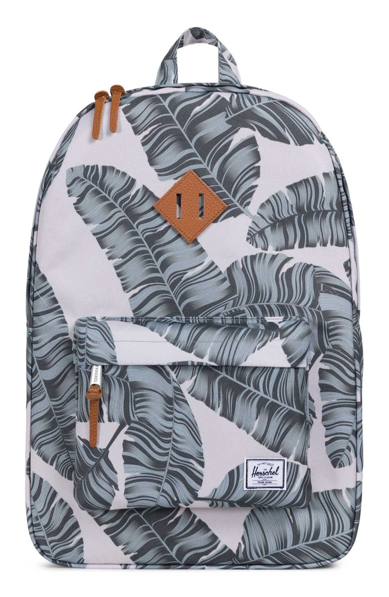 Heritage Backpack,                         Main,                         color, Silver Birch Palm/ Tan