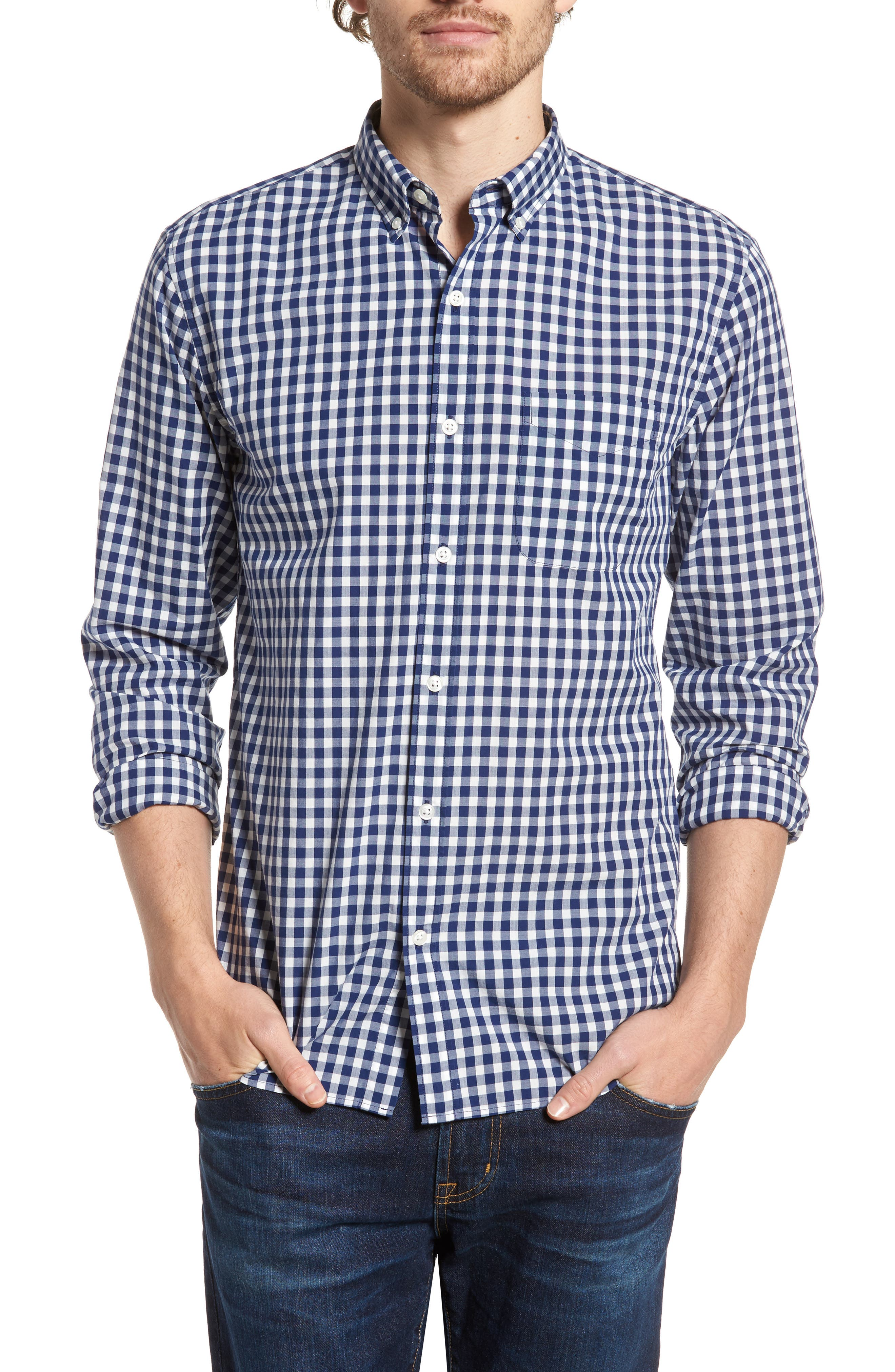 Summerweight Slim Fit Check Sport Shirt,                         Main,                         color, Canyon Gingham - Blue Depths