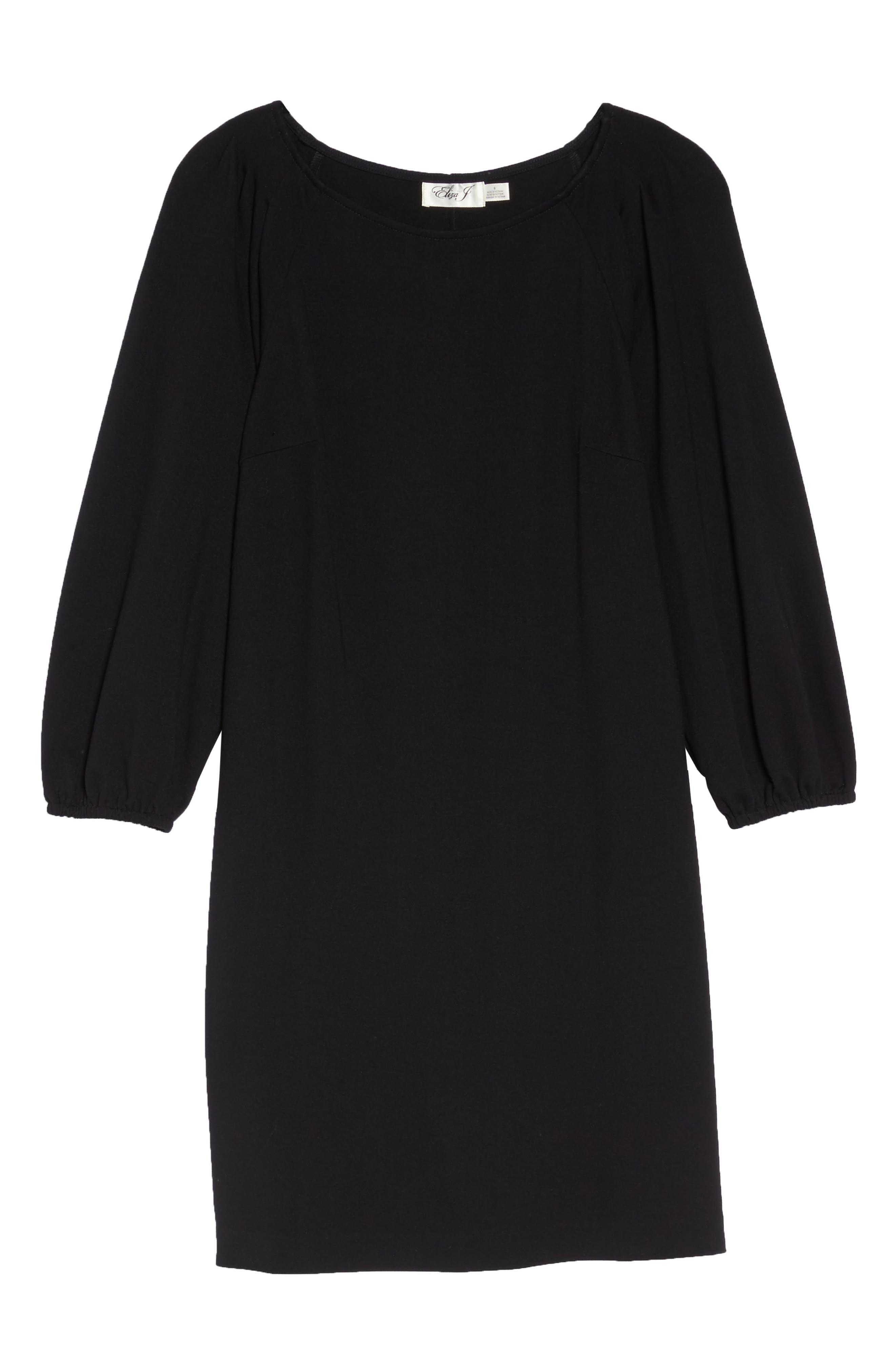Balloon Sleeve Shift Dress,                             Alternate thumbnail 6, color,                             Black